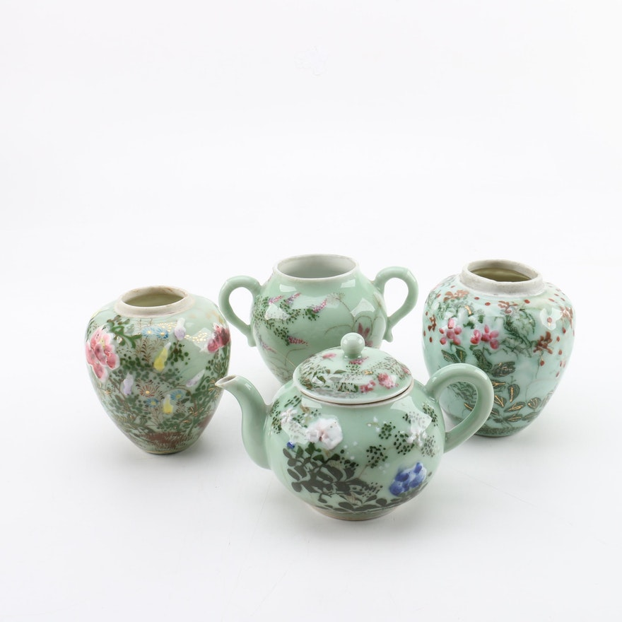 Japanese Celadon Green Porcelain Teapot and Jars | EBTH