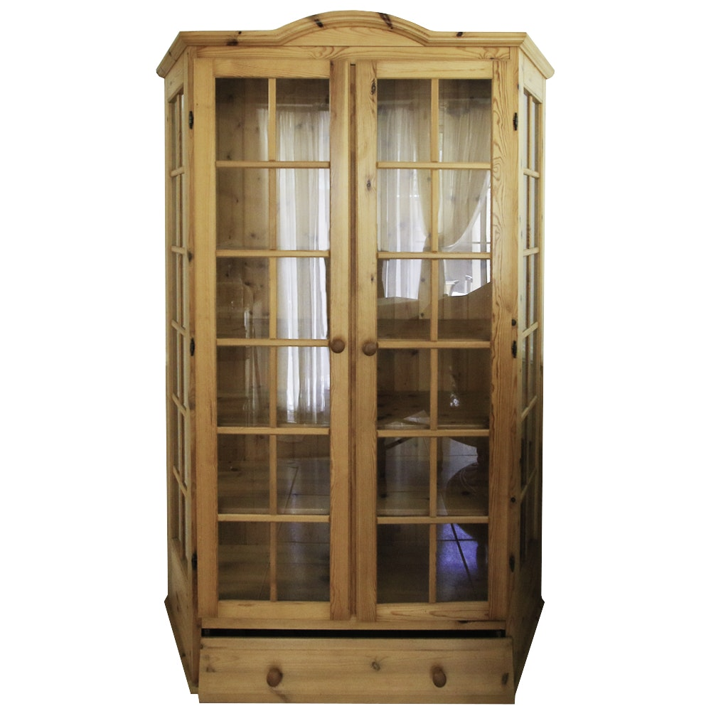 Country Style Knotty Pine Display Cabinet