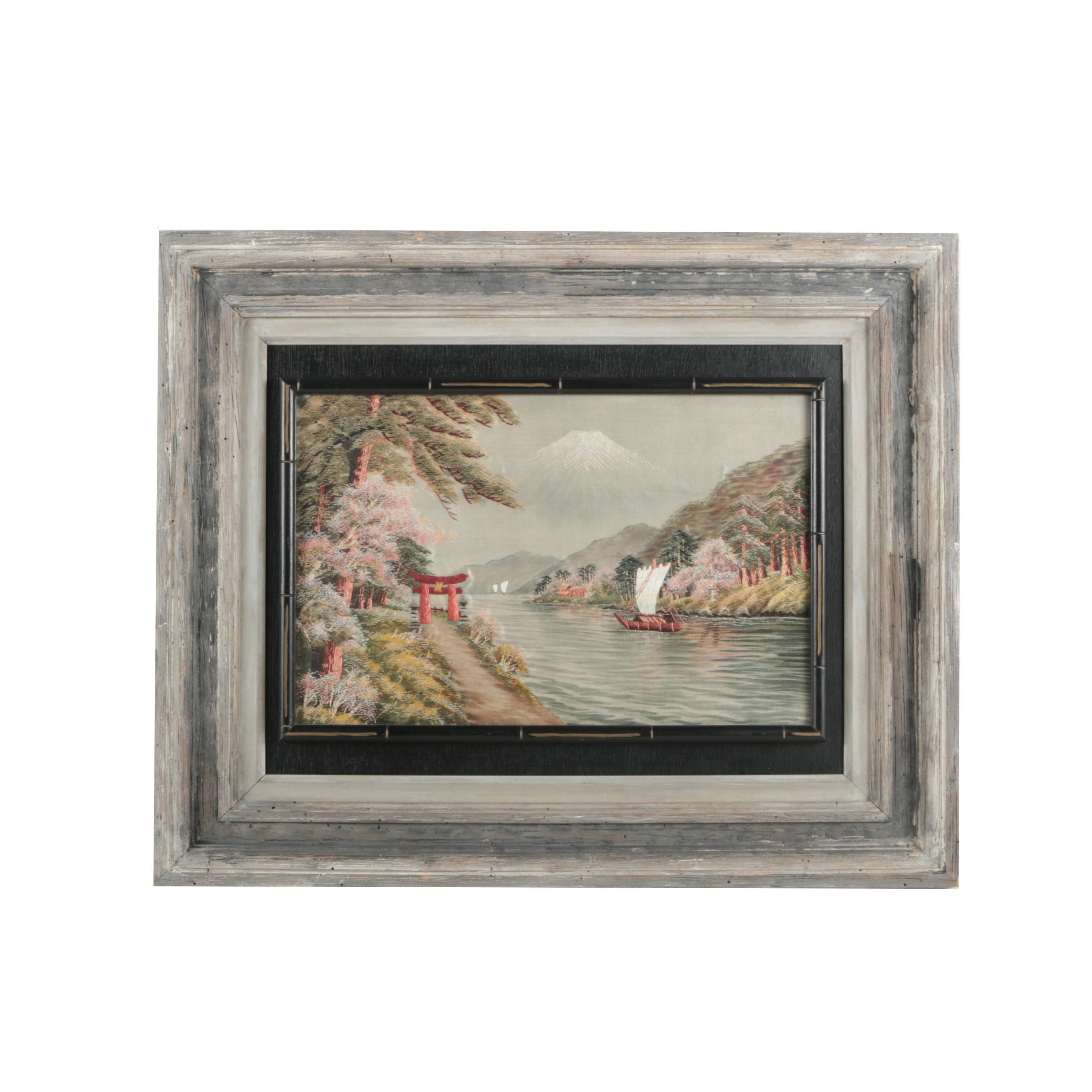 Japanese Silk Embroidery Of A River Scene Ebth