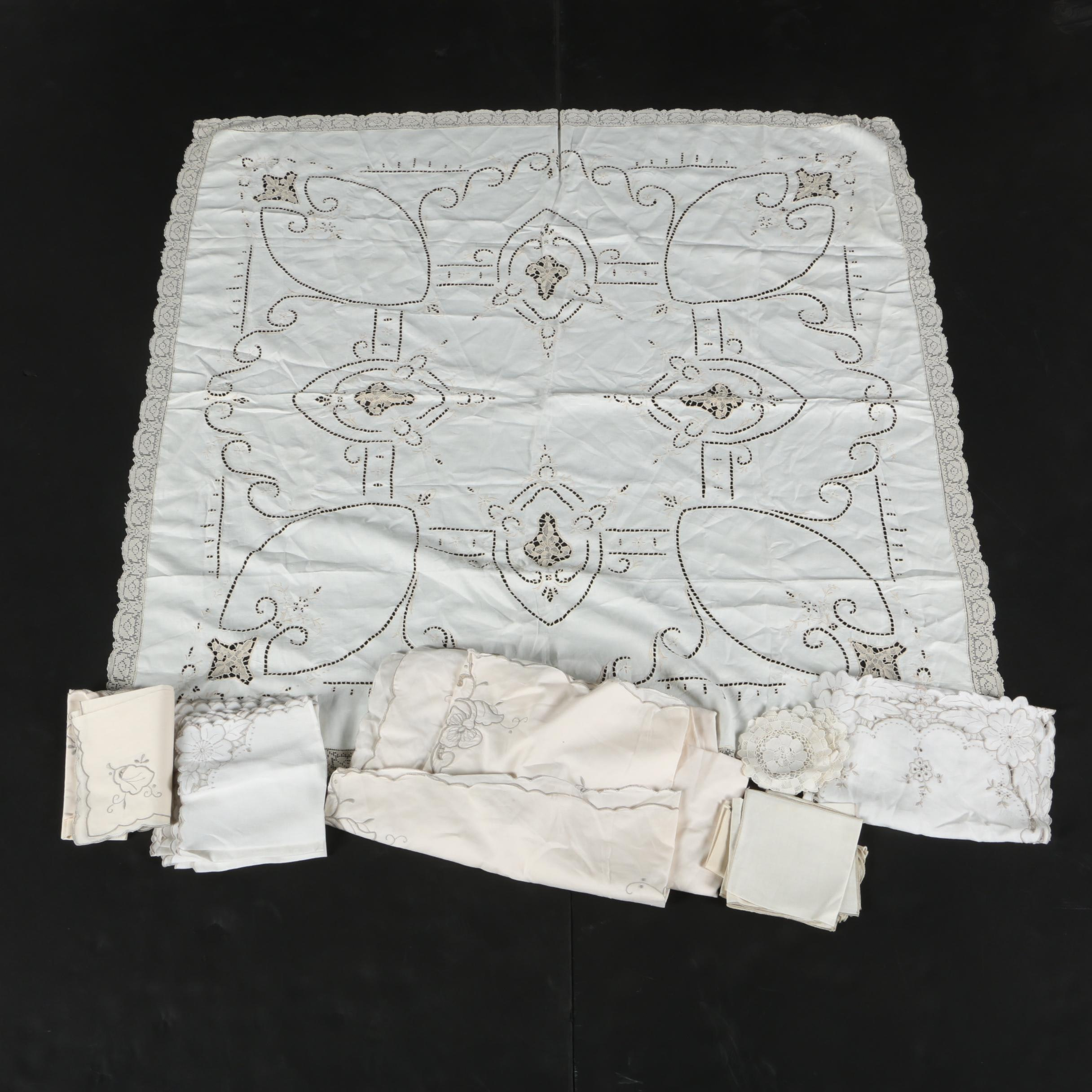 Floral and Lace Accented Table Linens