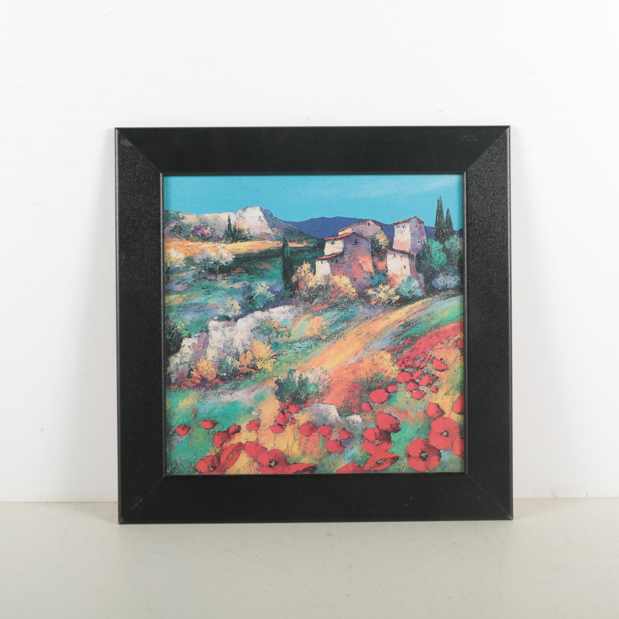 Offset Lithograph After Southwestern Style Town Painting