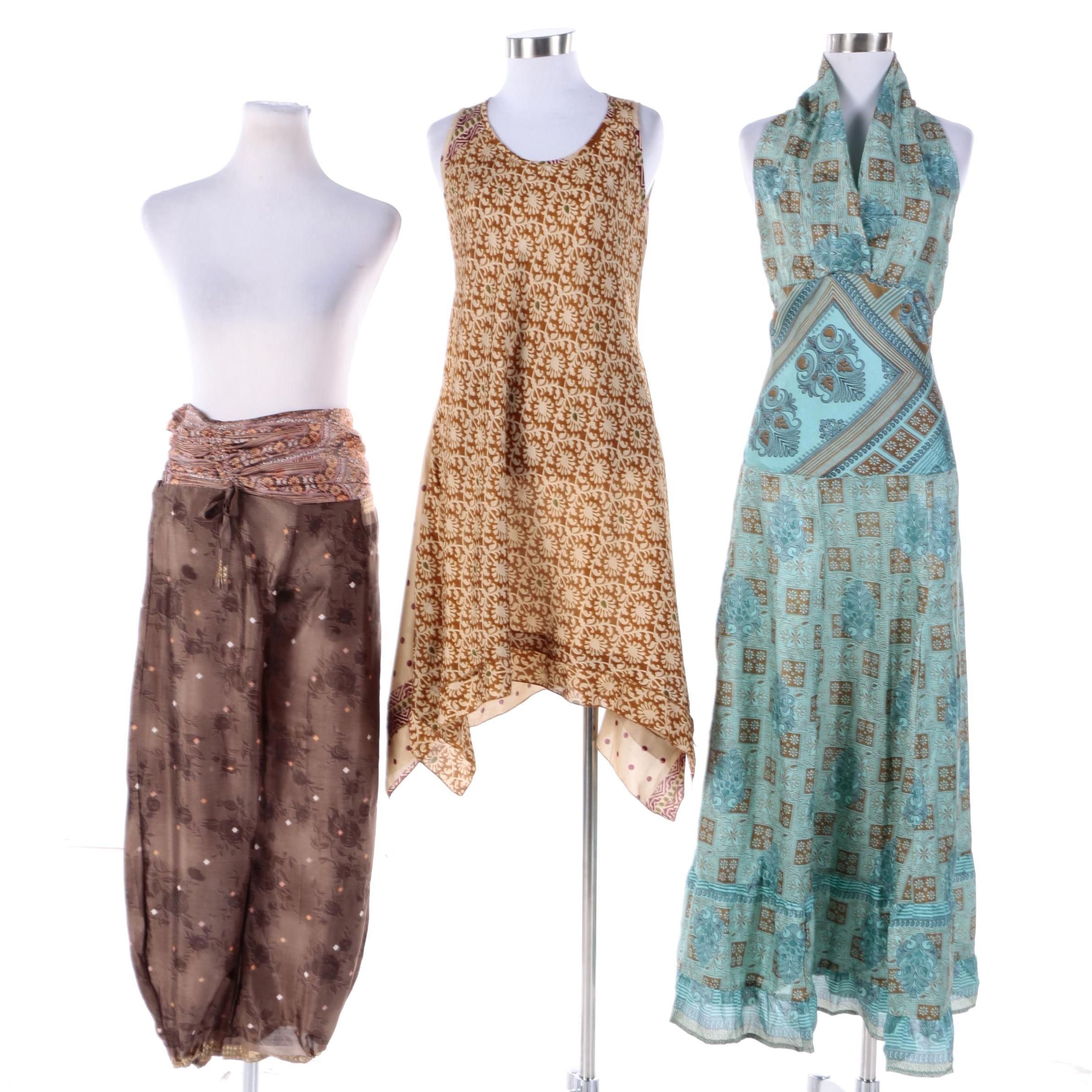 Women's Aller Simplement Upcycled Sari Fabric Pants, Dress and Tunic