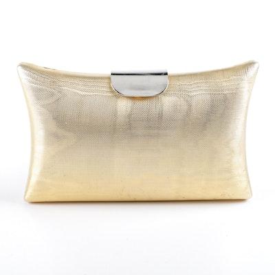 Vintage Neiman Marcus Gold Tone Clutch Handbag 61bcacb10dab0