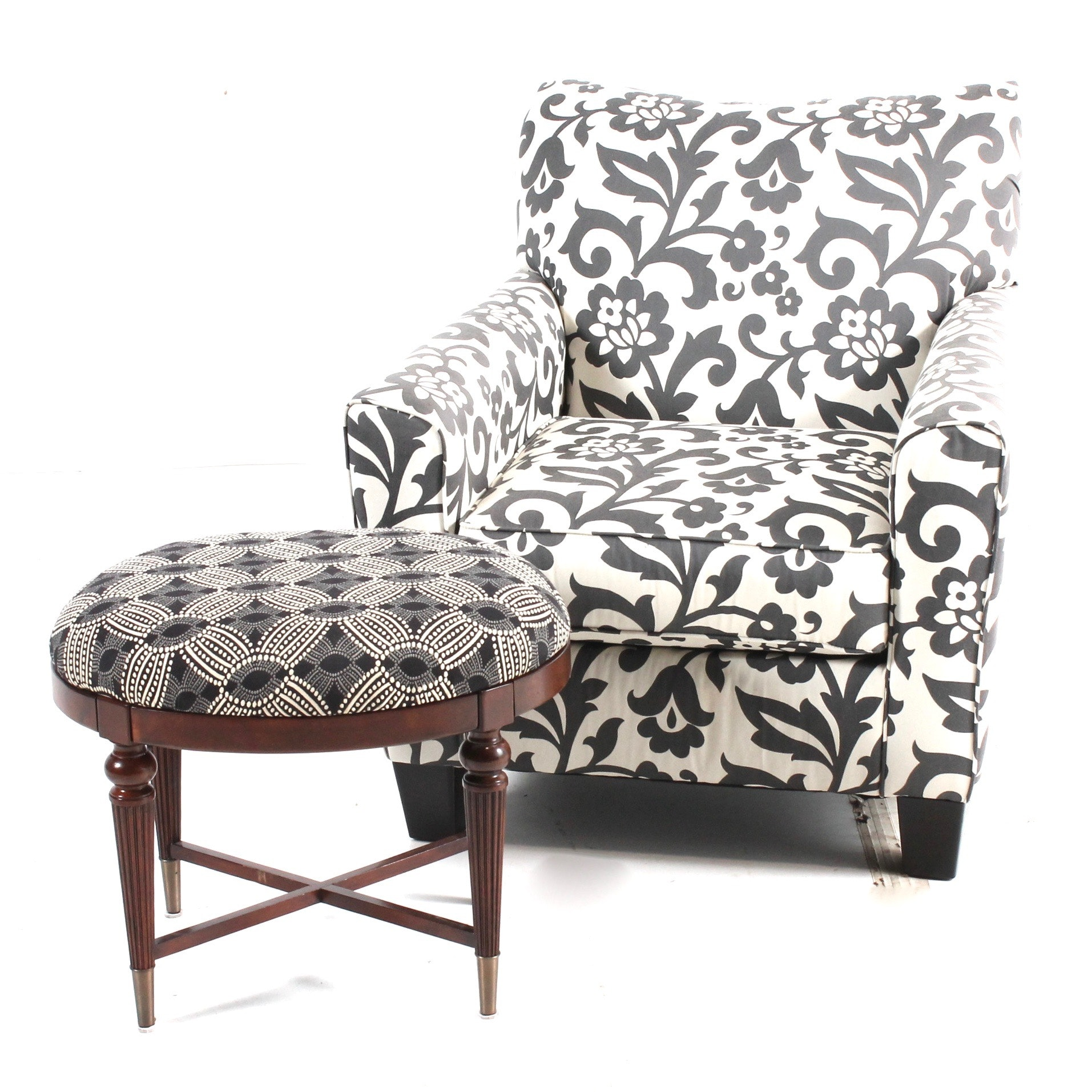 Contemporary Upholstered Armchair and Footstool