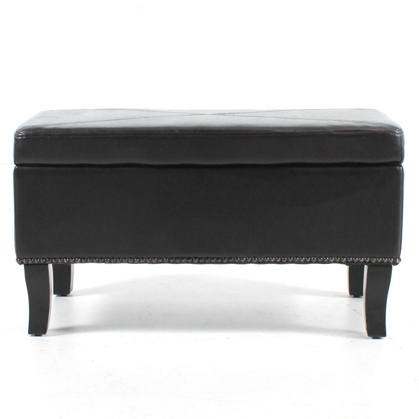 Ross Joseph Design Leather Storage Ottoman