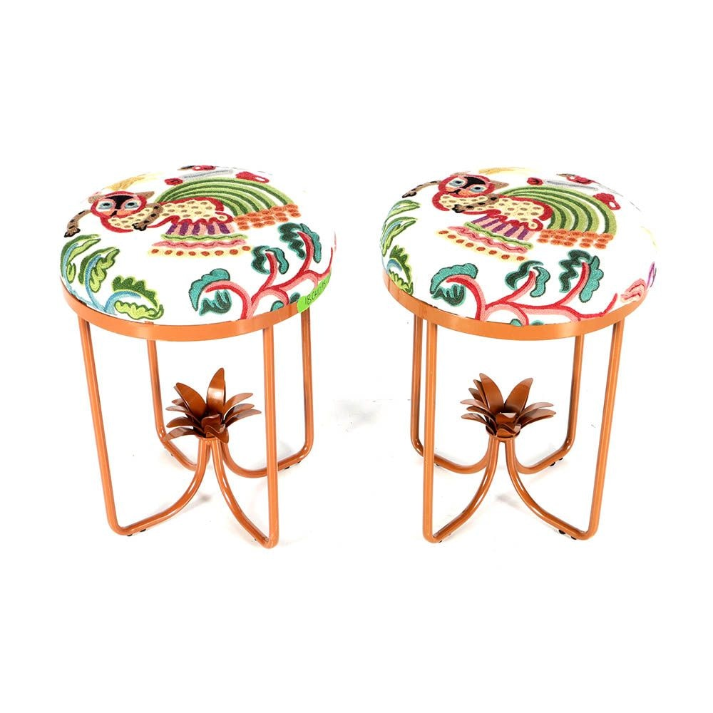Pair Of Painted Metal Stools With Huberta Crewel By Clarence House  Upholstery ...