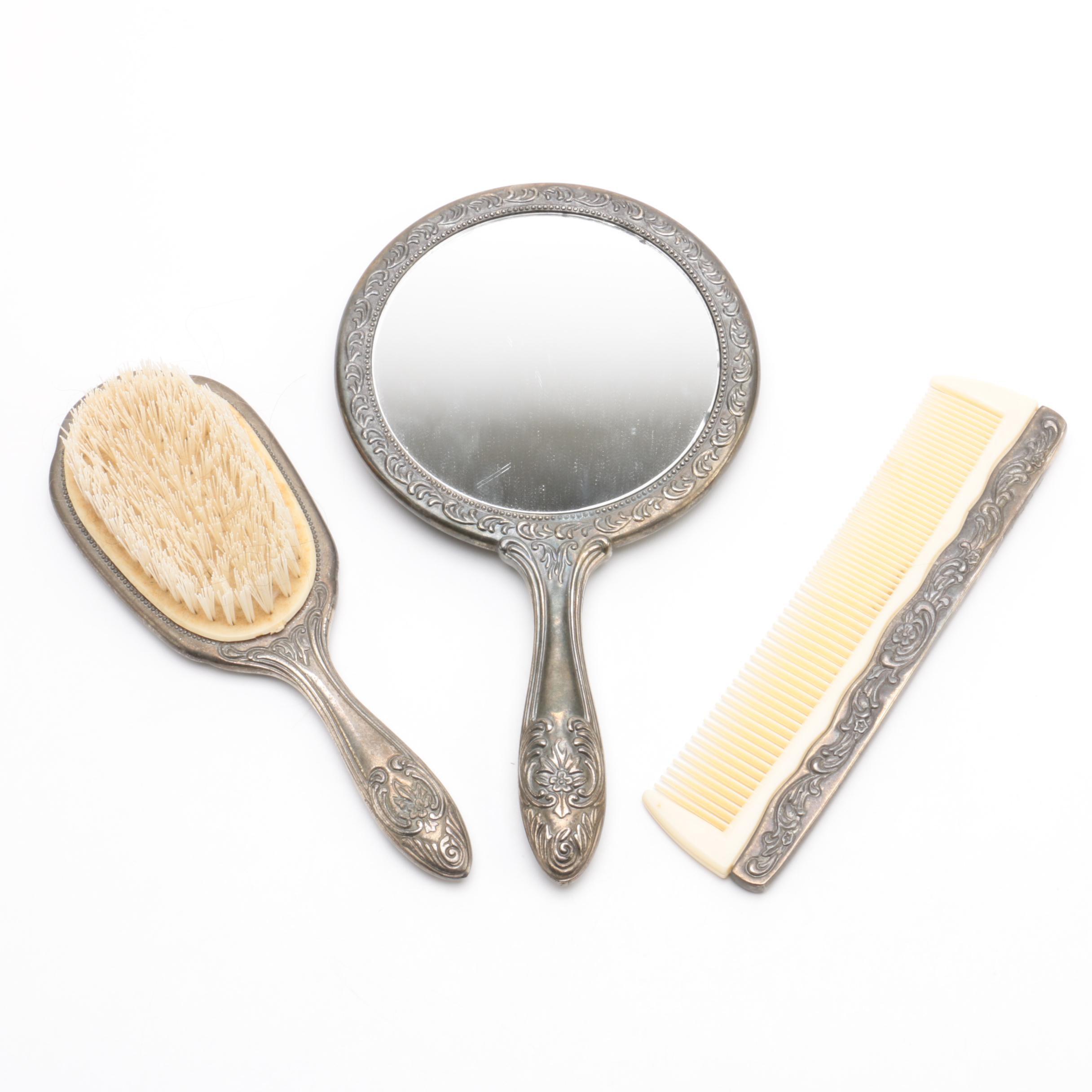 Foliate Embellished Silver-Plated Vanity Set ...  sc 1 st  EBTH.com & Foliate Embellished Silver-Plated Vanity Set : EBTH