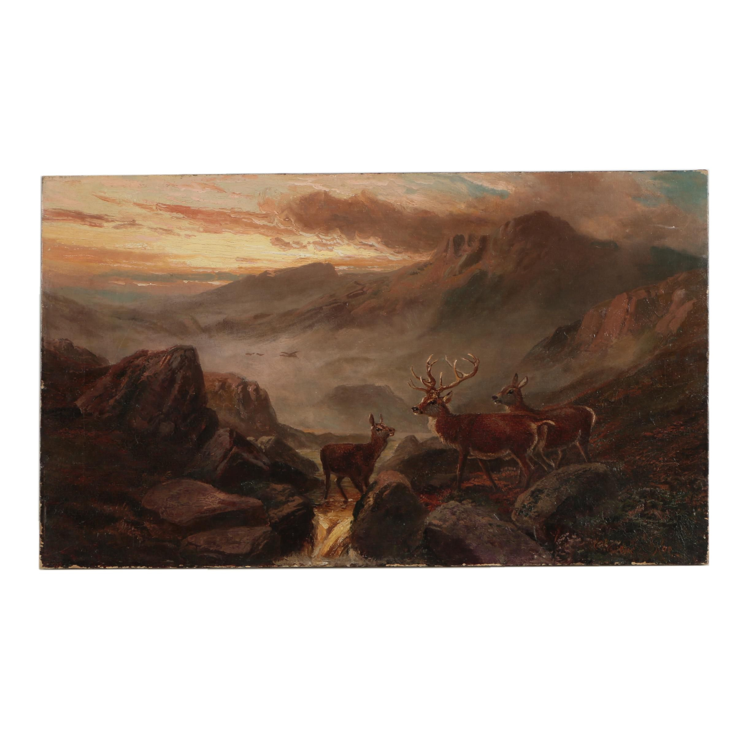 Clarence Roe Oil on Canvas Wilderness Painting
