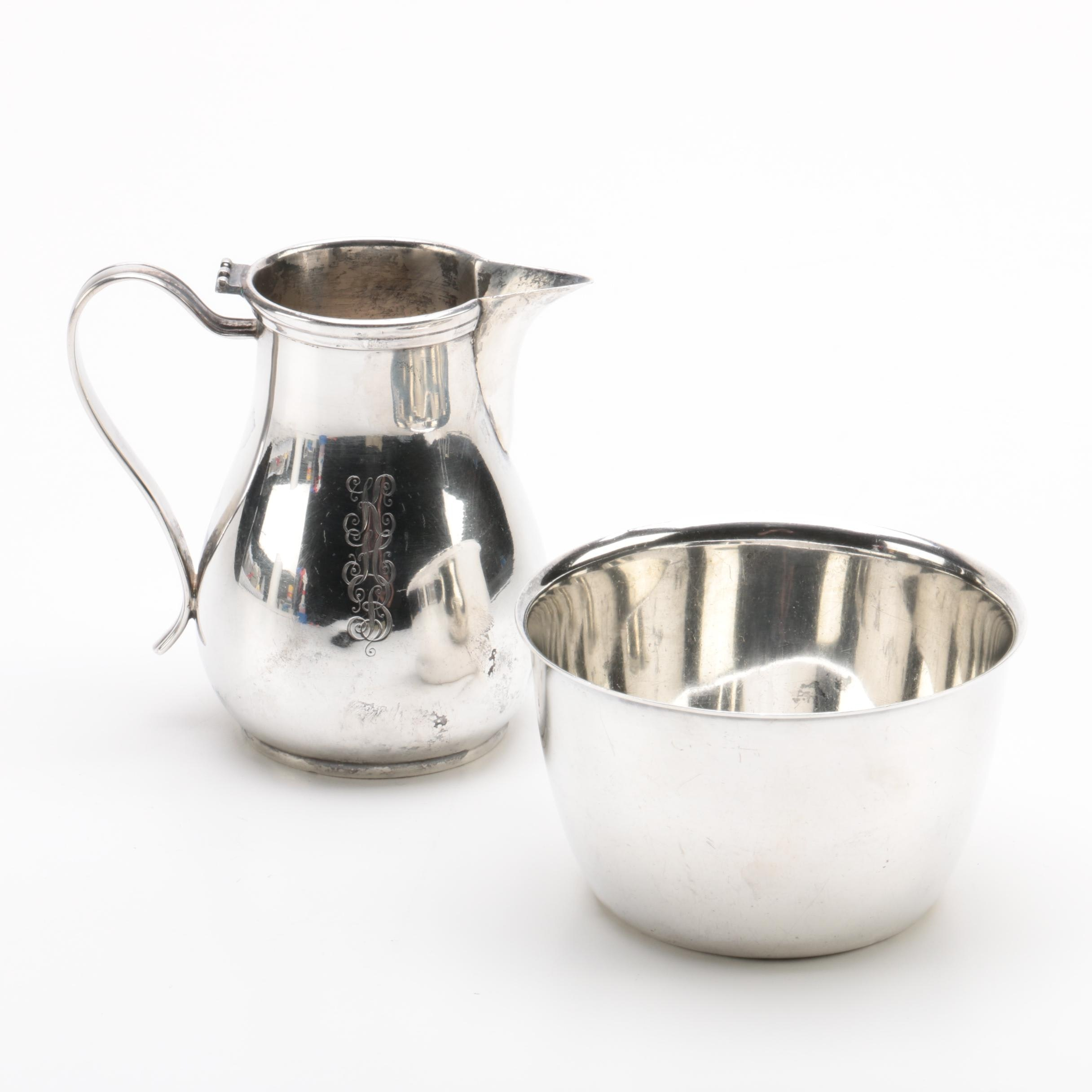 Watson Co. Sterling Silver Bowl with Currier & Roby Sterling Creamer