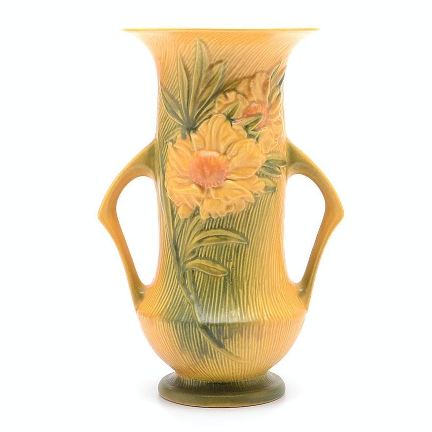 Roseville Pottery Vase Peony Pattern Ebth
