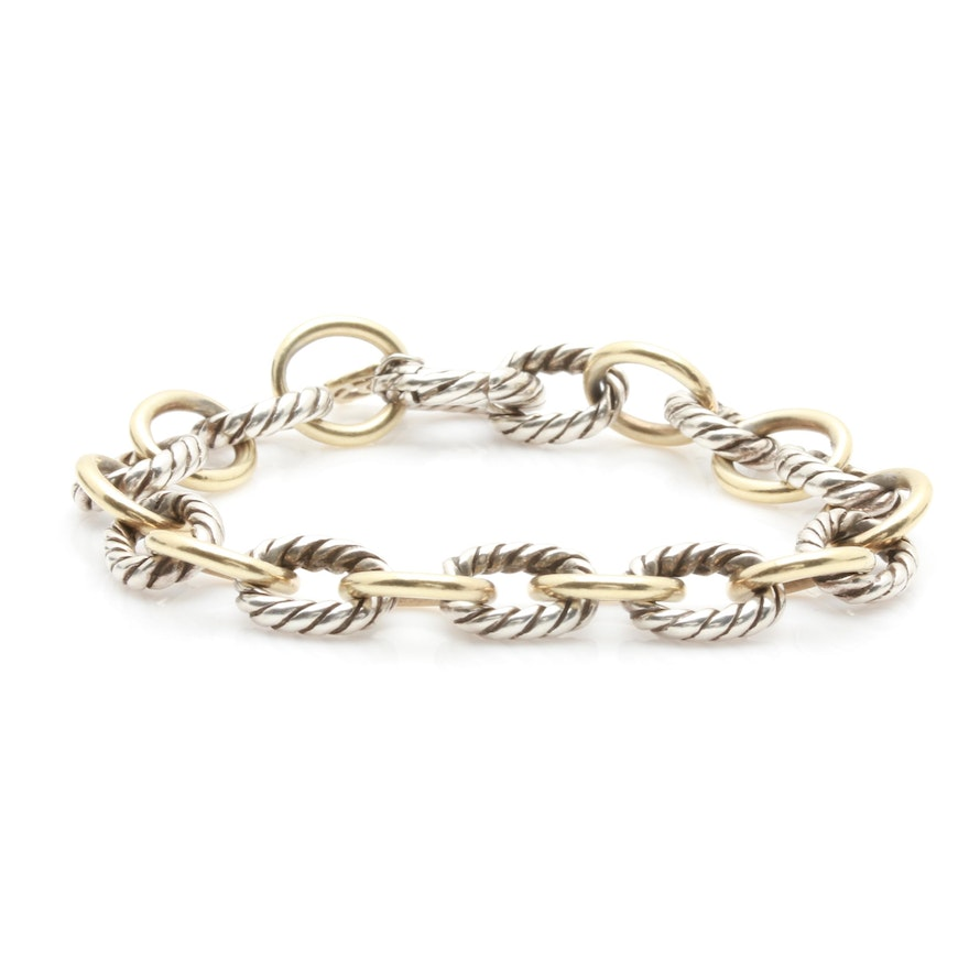 390dde46698 David Yurman Oval Sterling Silver and 18K Yellow Gold Link Chain Bracelet  ...