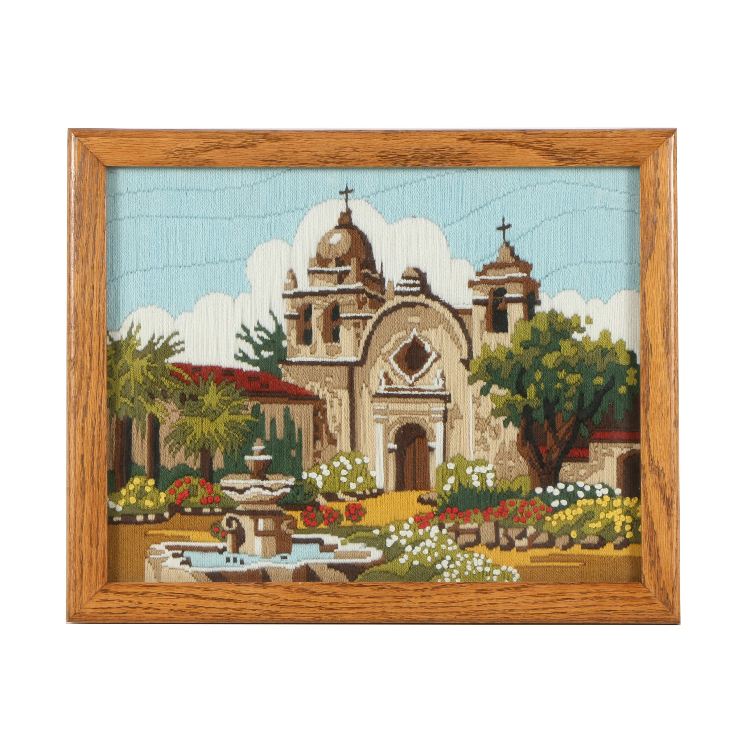Synthetic Wool Embroidery of Architectural Mission Church Landscape