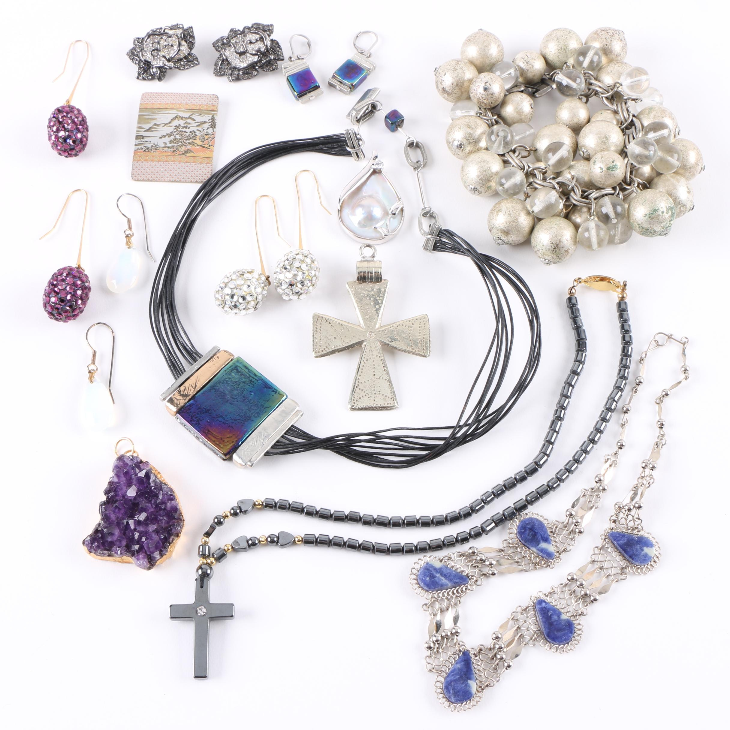 Jewelry Assortment Including Blister Pearl and Amethyst