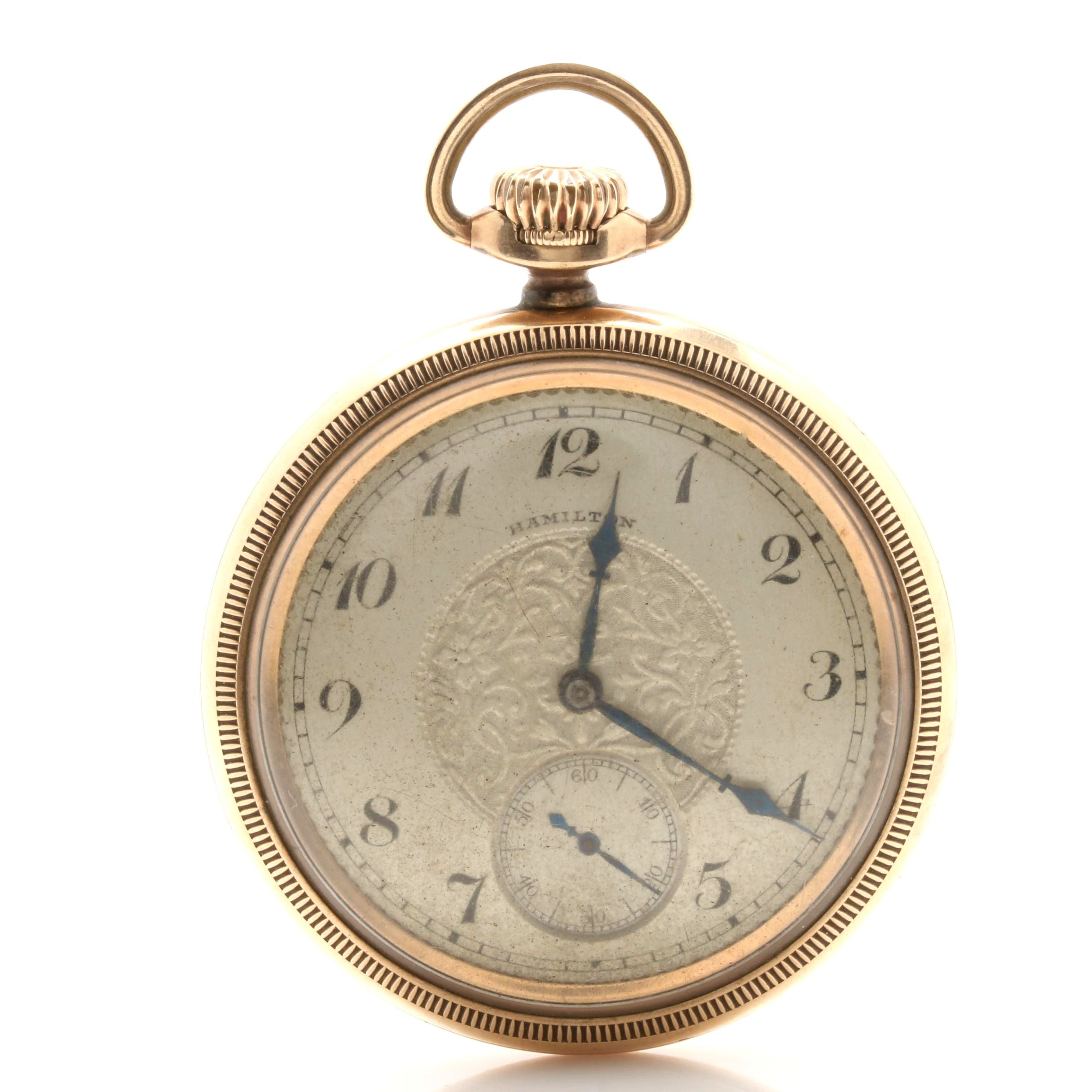 Hamilton 10K Gold Filled Swing Out Front Case Pocket Watch