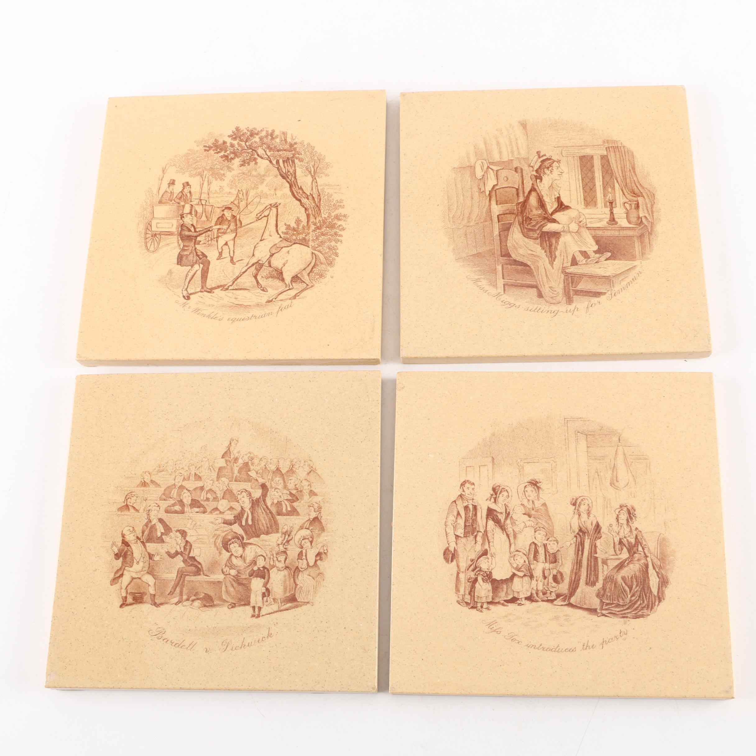 Vintage Ceramic Tiles Depicting Scenes From Charles Dickens Works