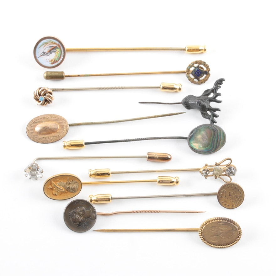 cee30be53 Vintage and Antique Stick Pins Including Sterling Silver and Abalone ...