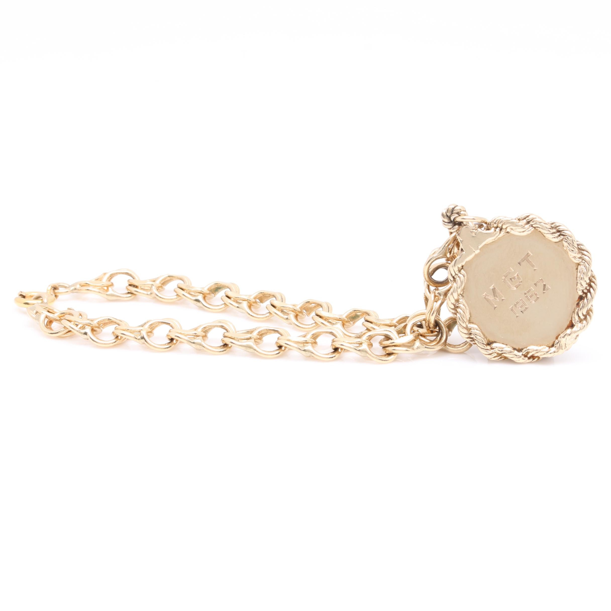 14K Yellow Gold Bracelet with Disc Charm