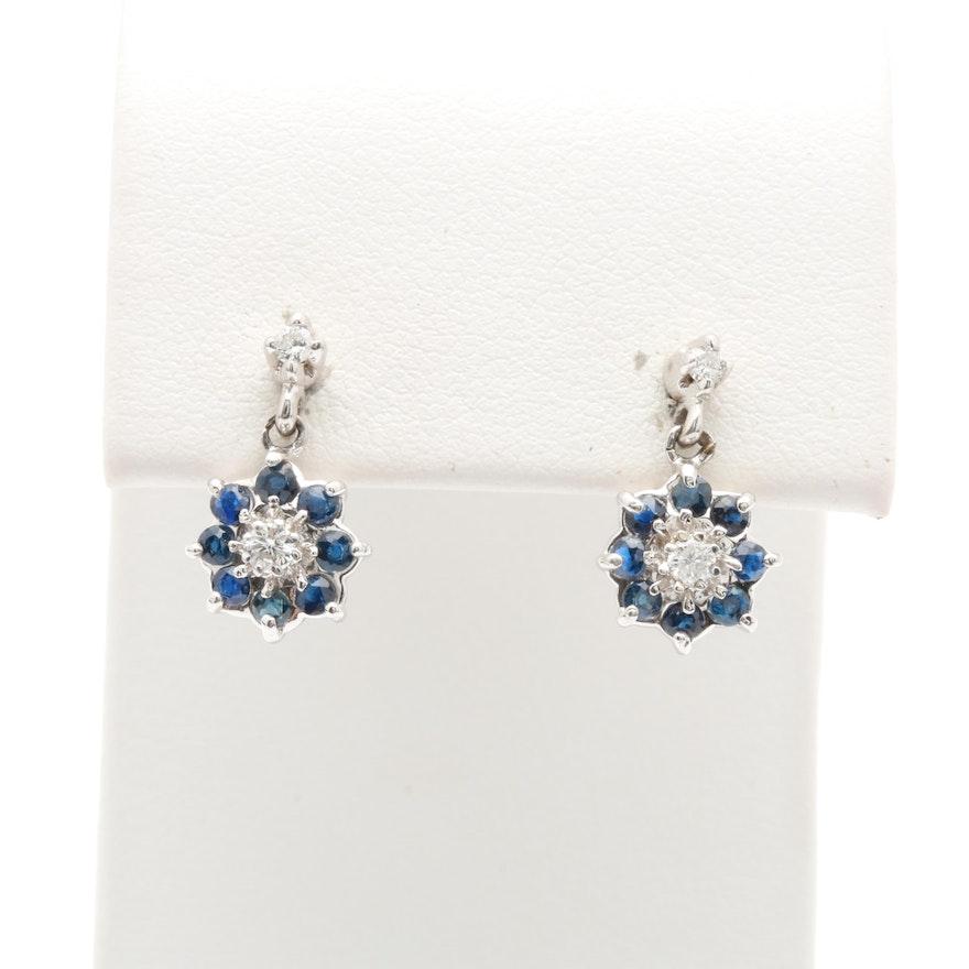 9b1a822ba 14K White Gold Diamond and Blue Sapphire Floral Earrings : EBTH