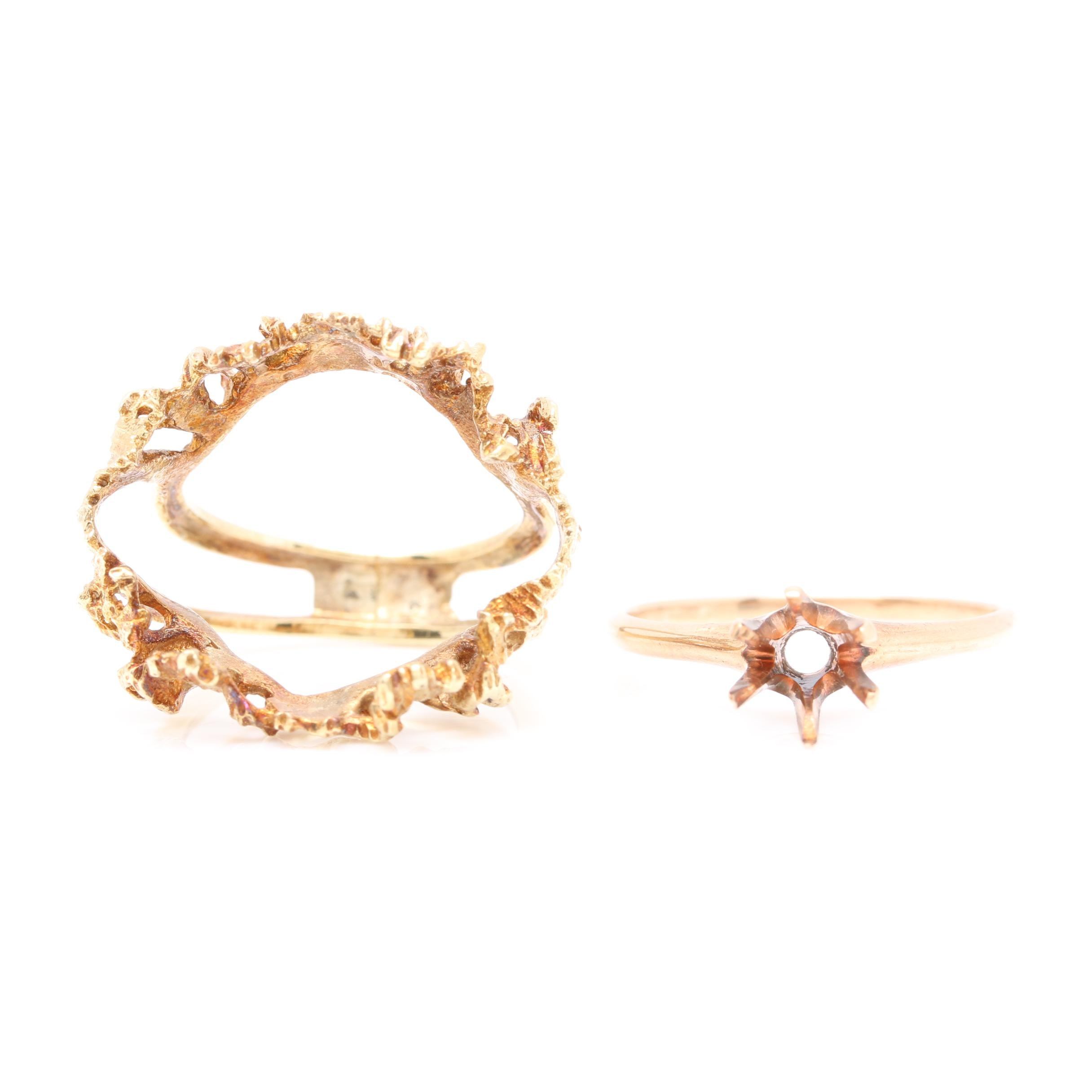 14K Yellow Gold Ring Guard and 10K Yellow Gold Solitaire Mounting