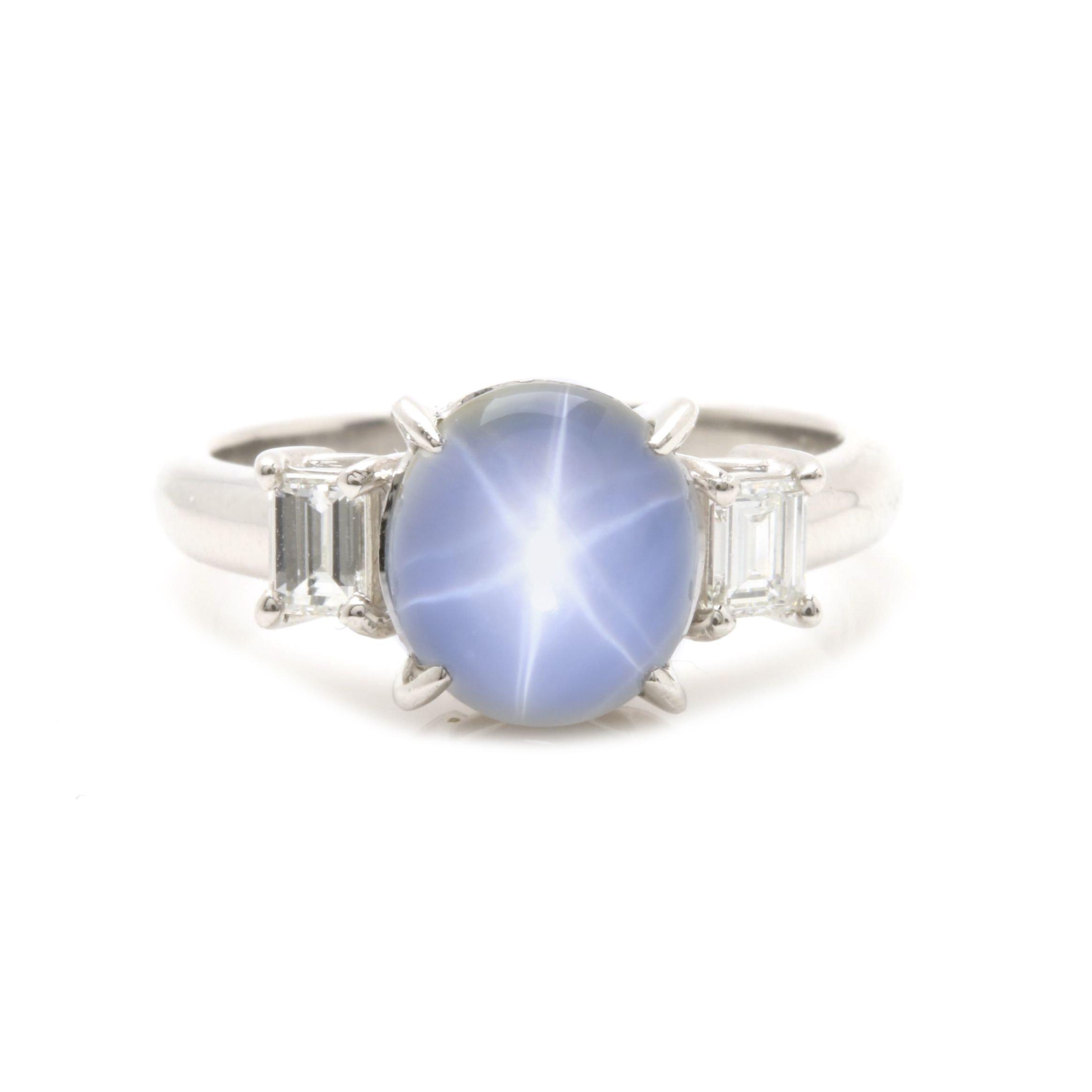 Platinum 3.55 CT Blue Star Sapphire and Diamond Ring