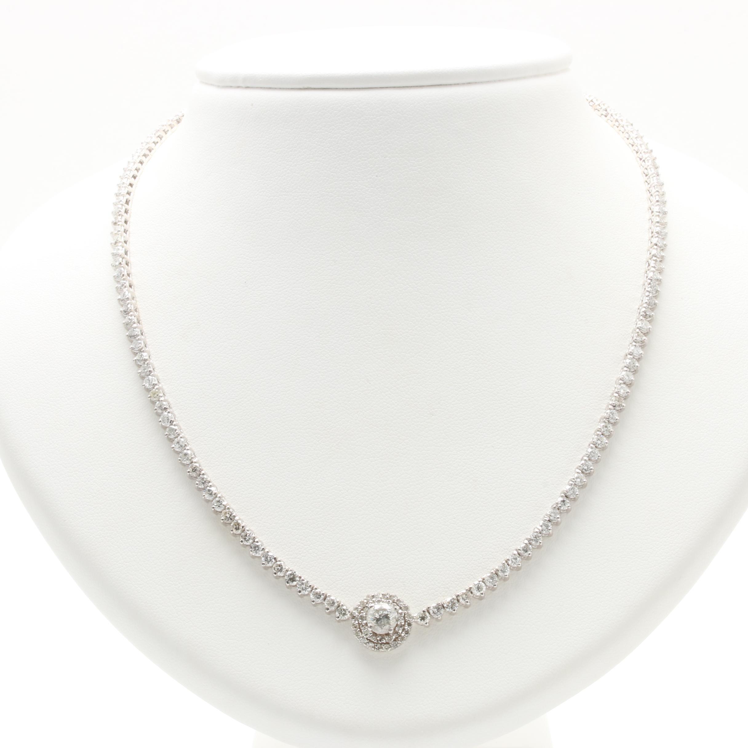 14K White Gold 6.60 CTW Diamond Necklace