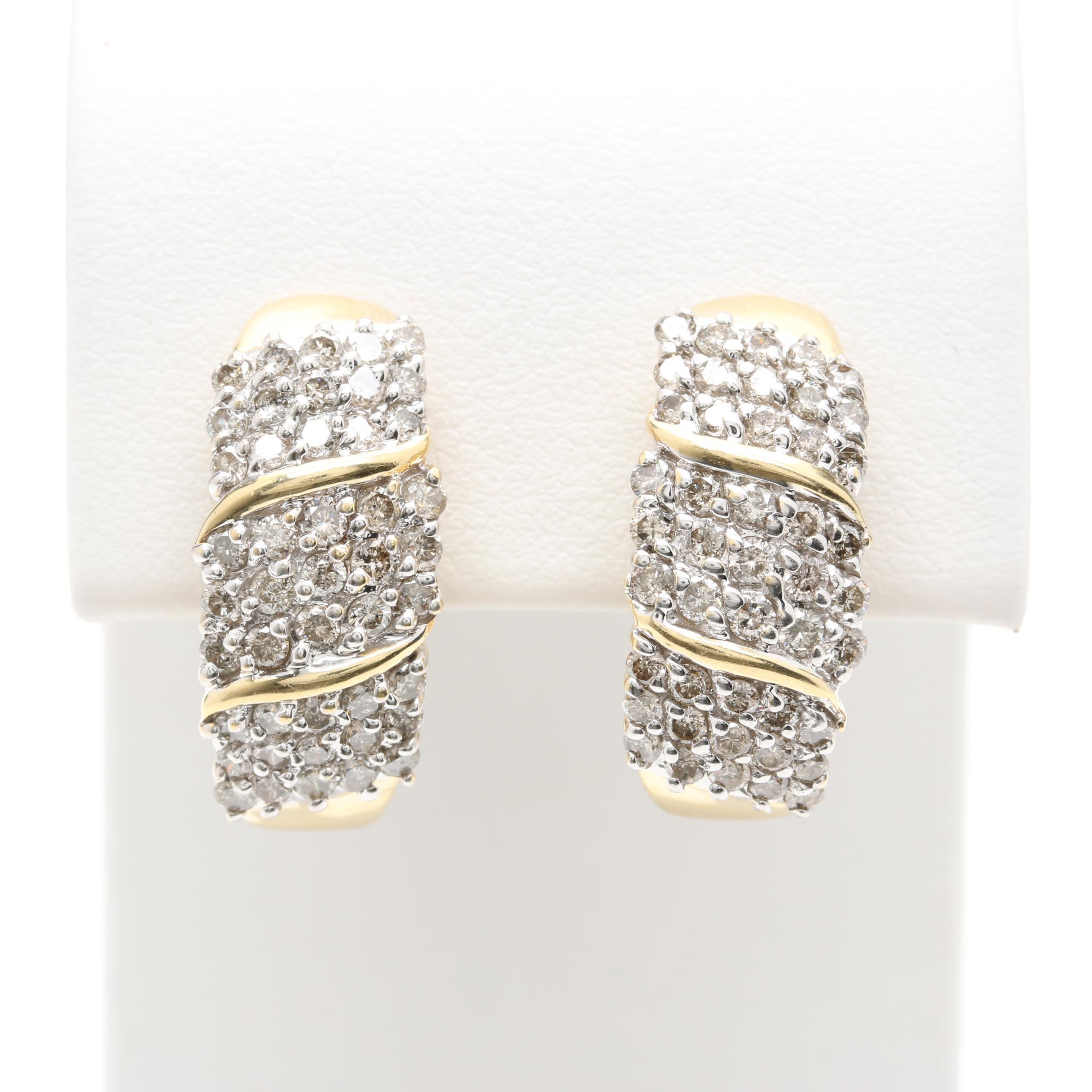 14K Yellow Gold 2.25 CTW Diamond Clip On Earrings