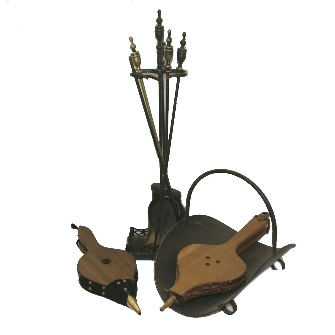 Fireplace Bellows, Tool Set and Log Holder