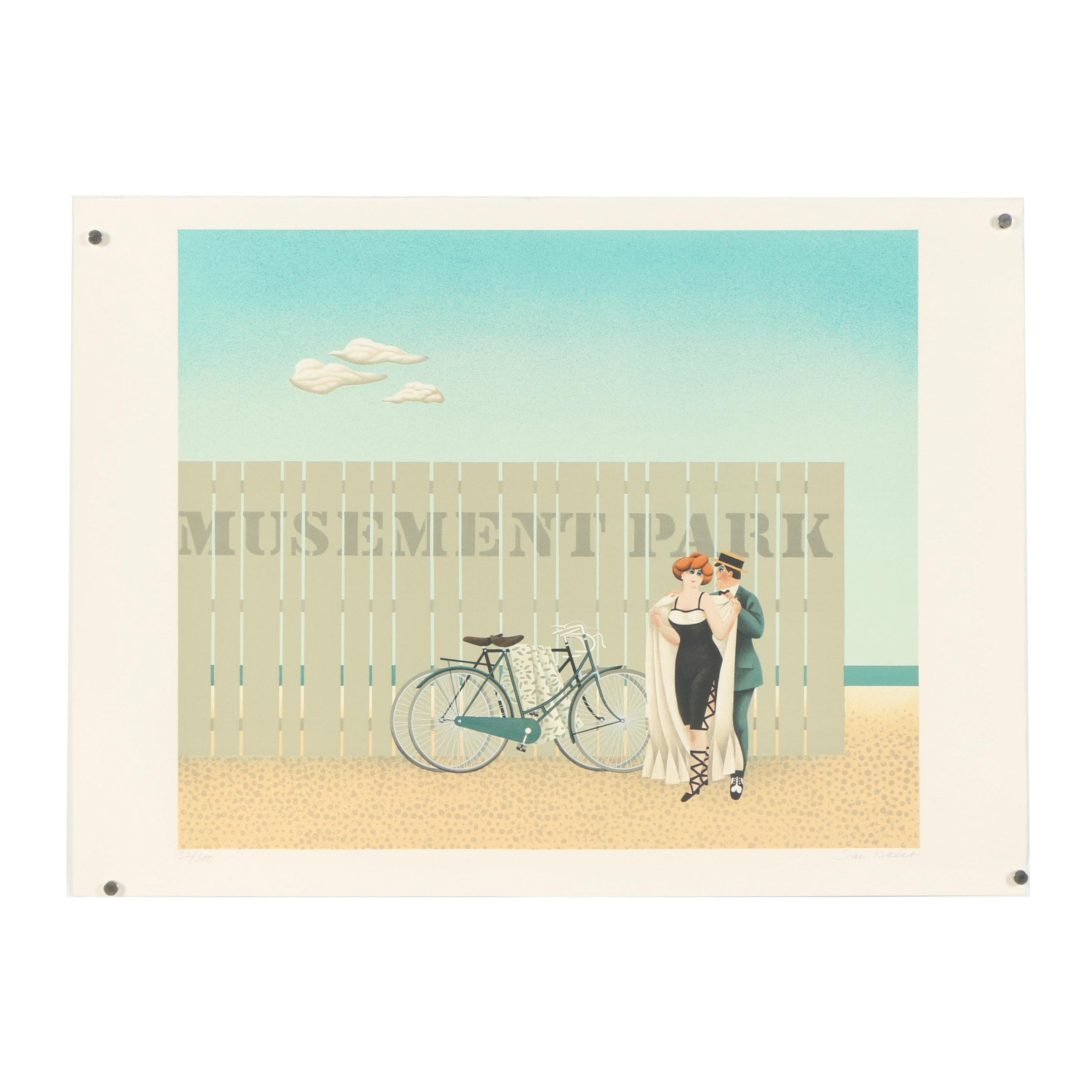"""Jan Balet Lithograph """"Amusement Park"""""""
