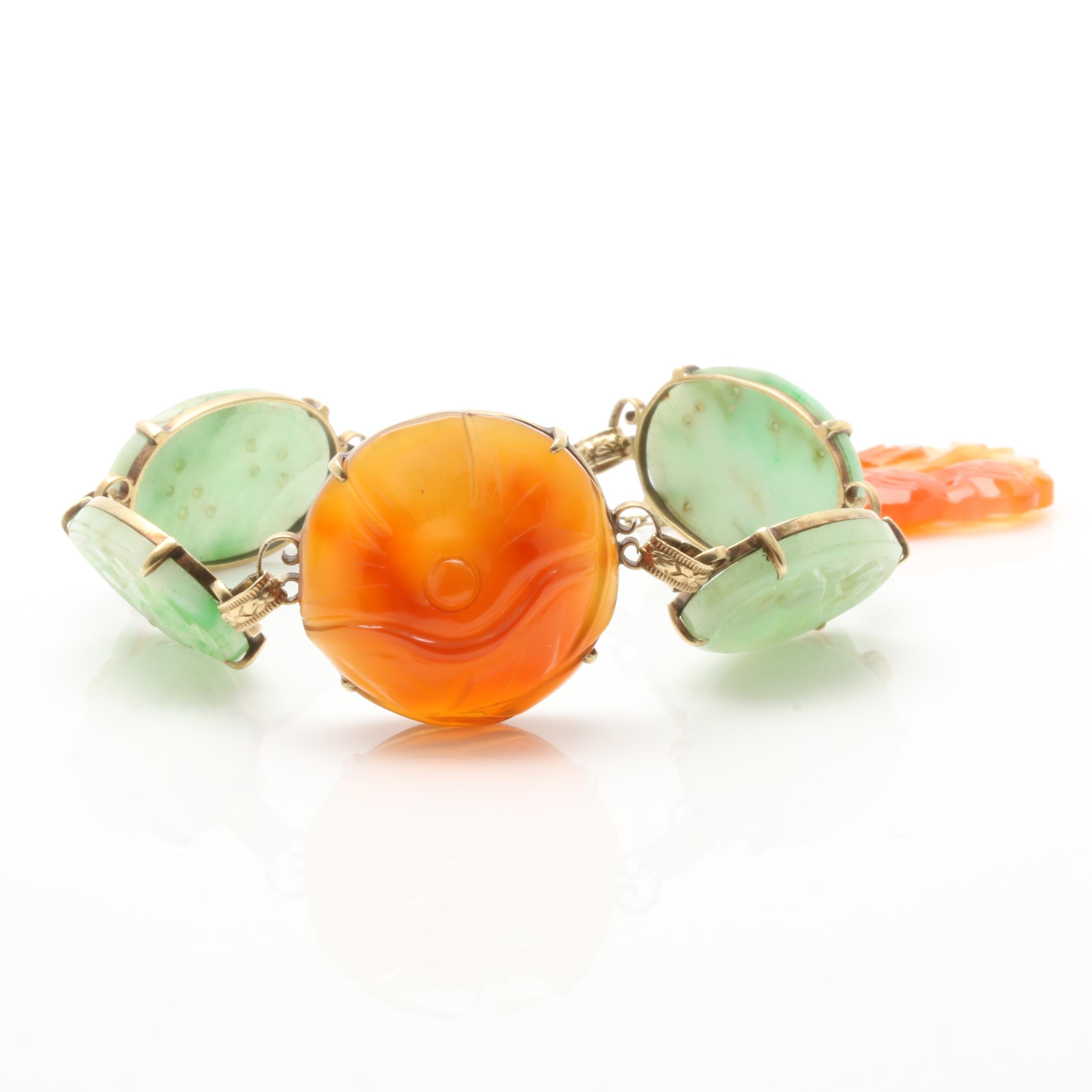 14K Yellow Gold Carved Jadeite and Agate Drop Bracelet