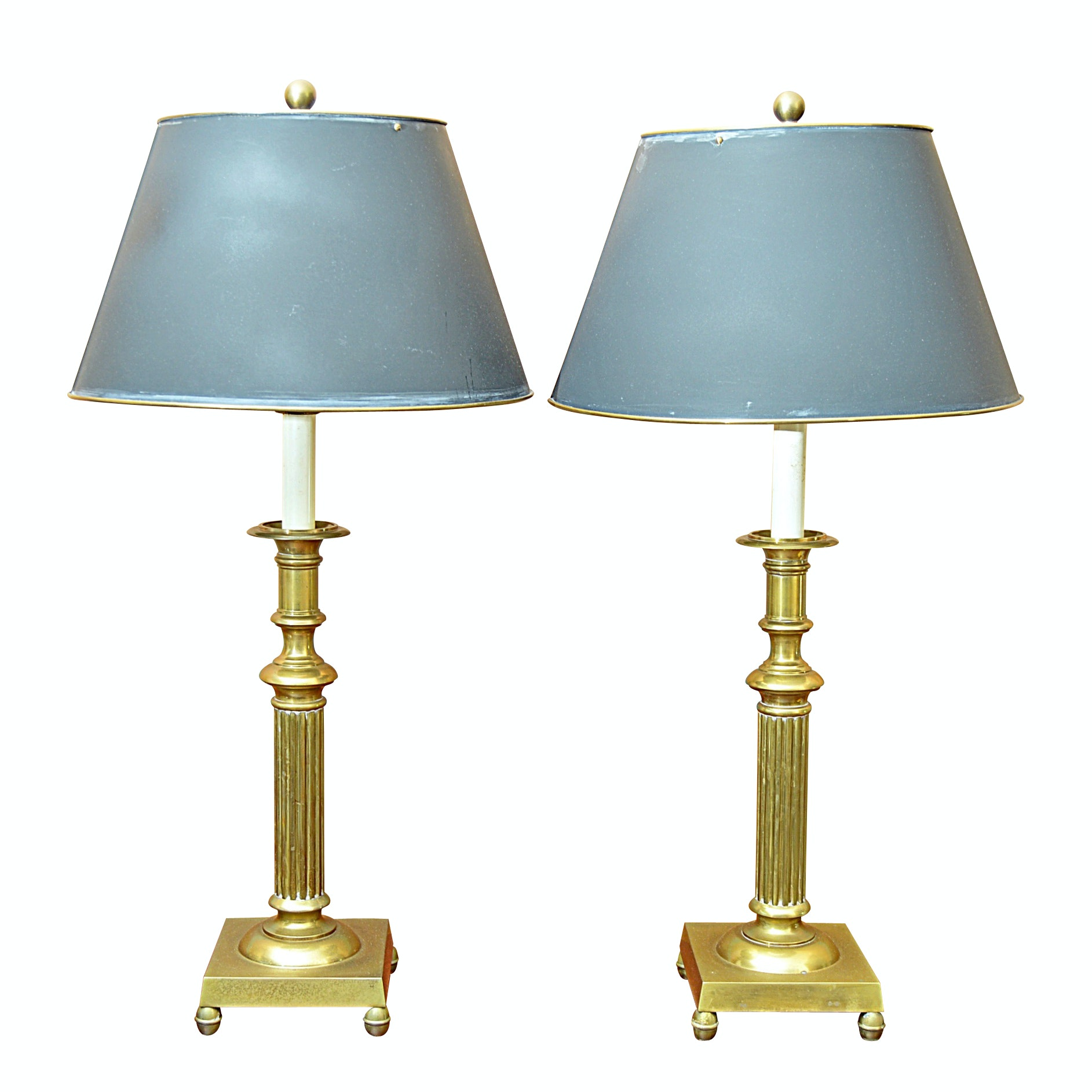Pair Of Traditional Brass Candlestick Lamps ...