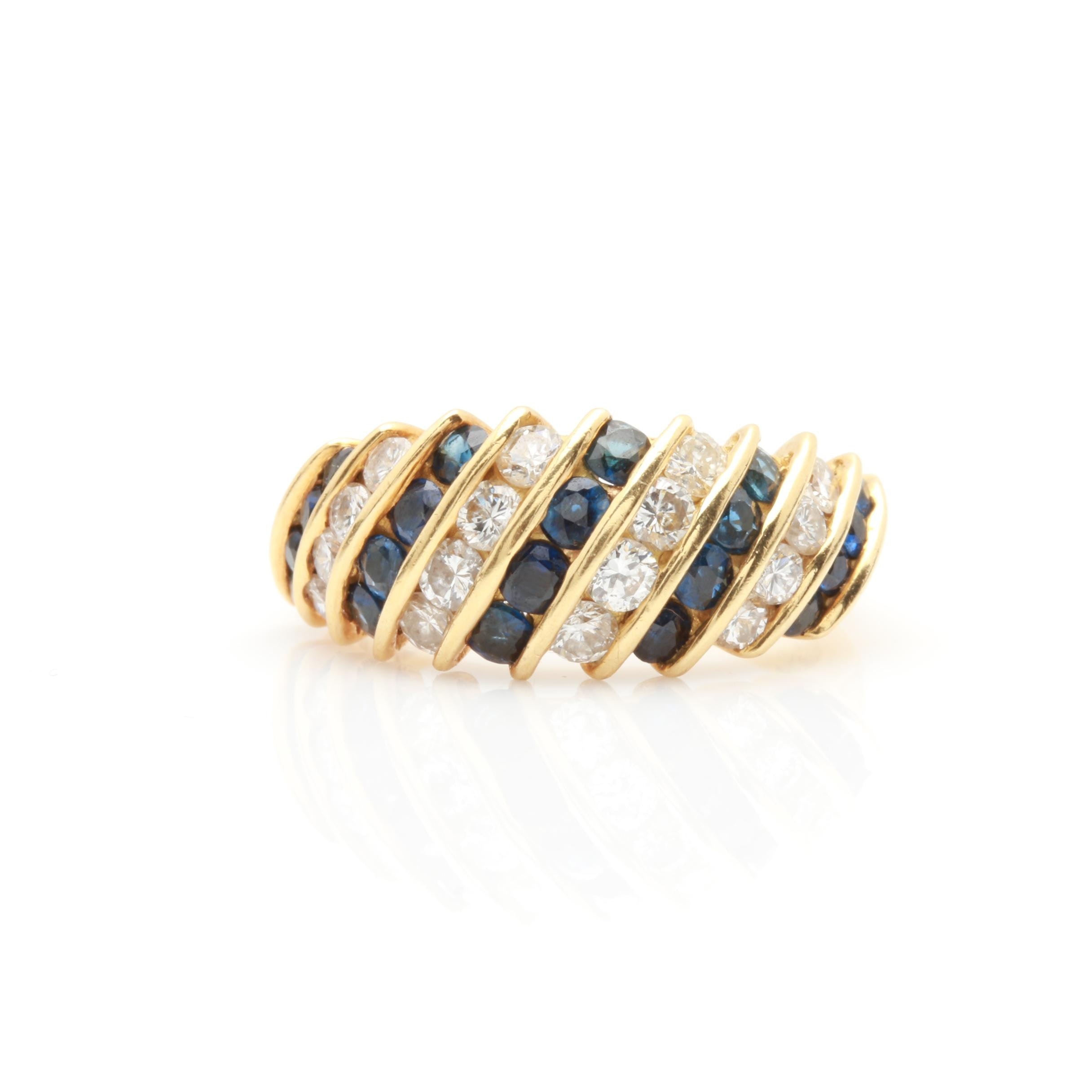 18K Yellow Gold Blue Sapphire and Diamond Channel Band