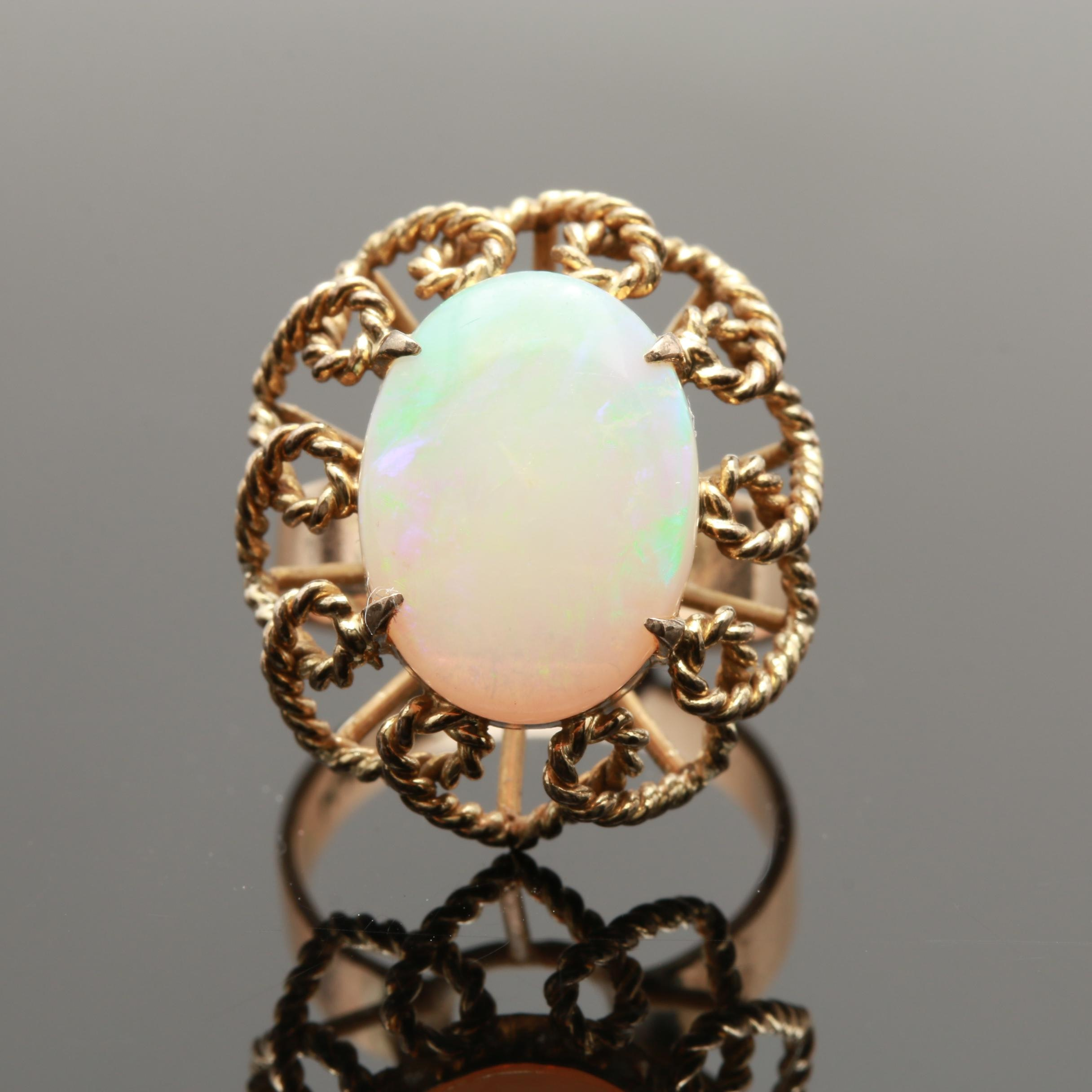 Vintage 14K Yellow Gold Opal Solitaire Floral Motif Ring