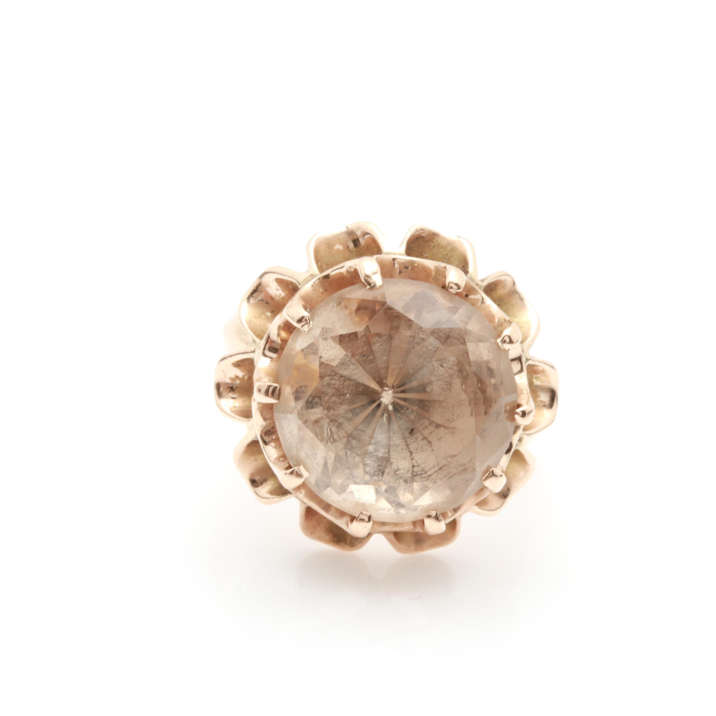 Vintage 14K Yellow Gold Smoky Quartz Solitaire Cocktail Ring