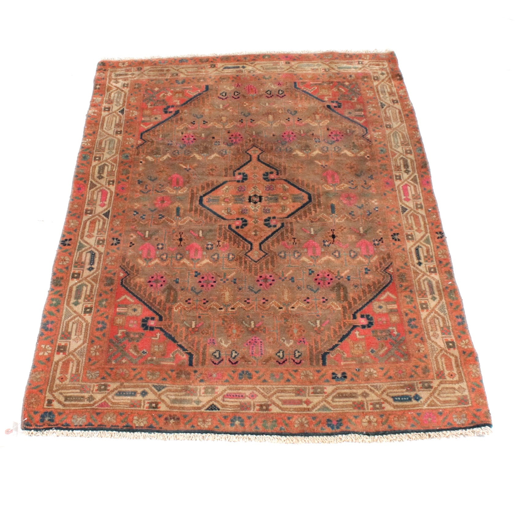 Vintage Hand-Knotted Persian Malayer Sarouk Rug