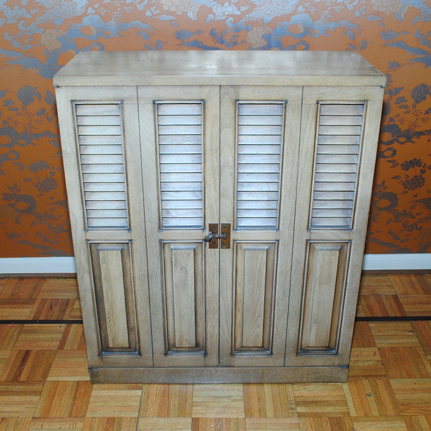 Vintage Wood Storage Cabinet With Louvered Doors