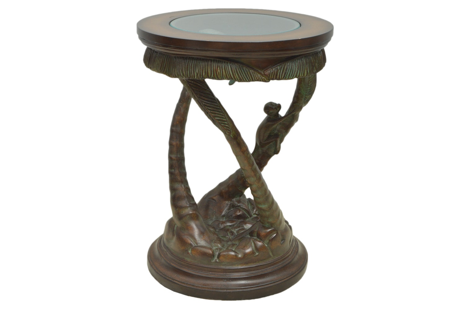 Glass Top Pedestal Side Table With Monkey Motif ...