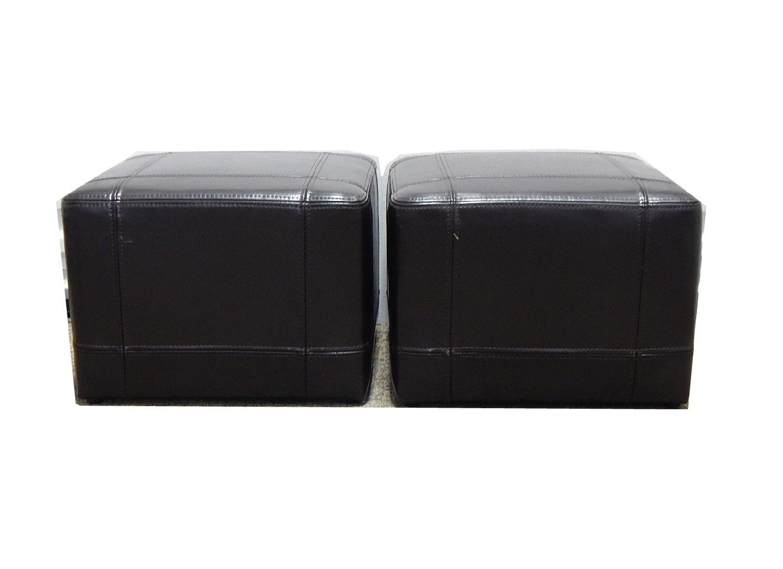 Two Dark Brown Cube Ottomans