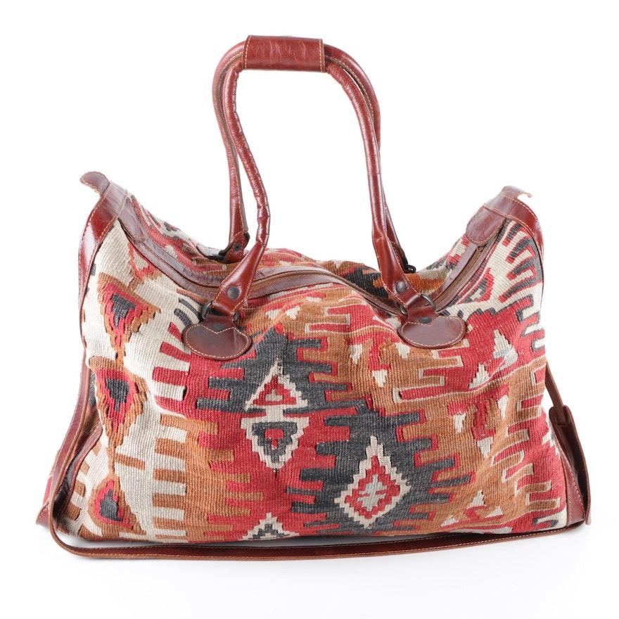 Turkish Leather and Handwoven Kilim Wool Duffel Bag   EBTH 64c3316f12010