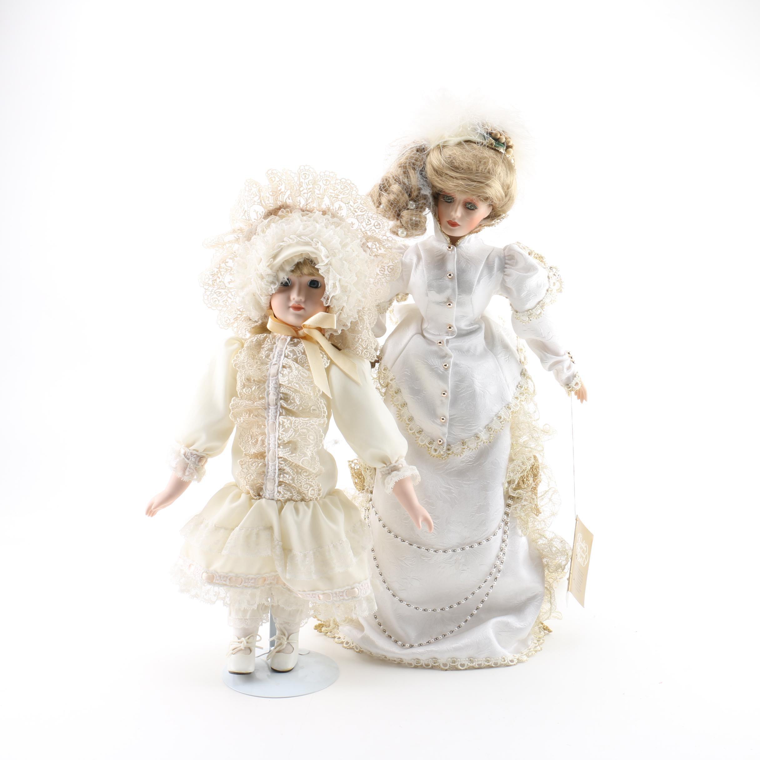 Franklin Heirloom Victorian Bride and Girl Porcelain Dolls