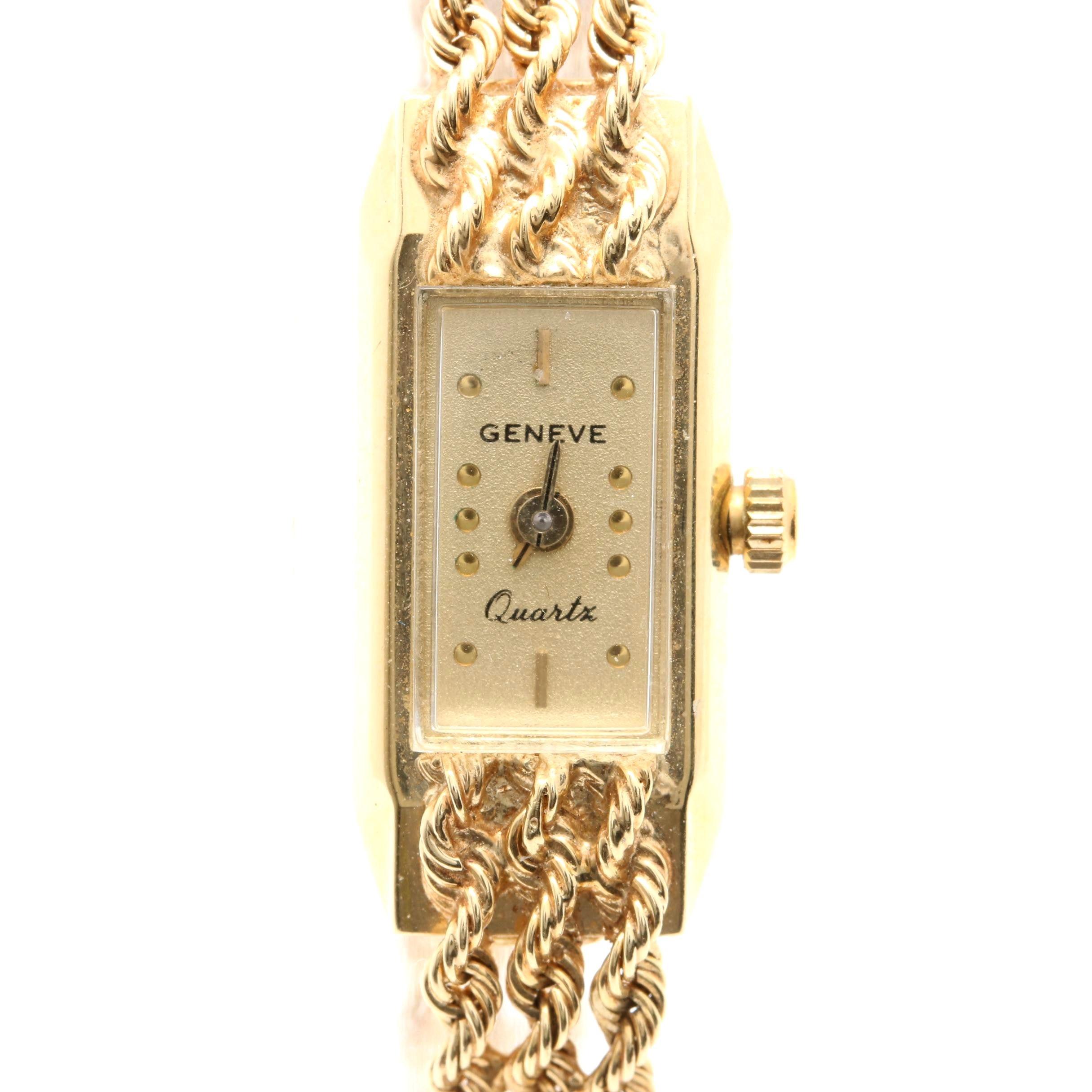 Geneve Quartz 14K Yellow Gold Triple Rope Bracelet Wristwatch