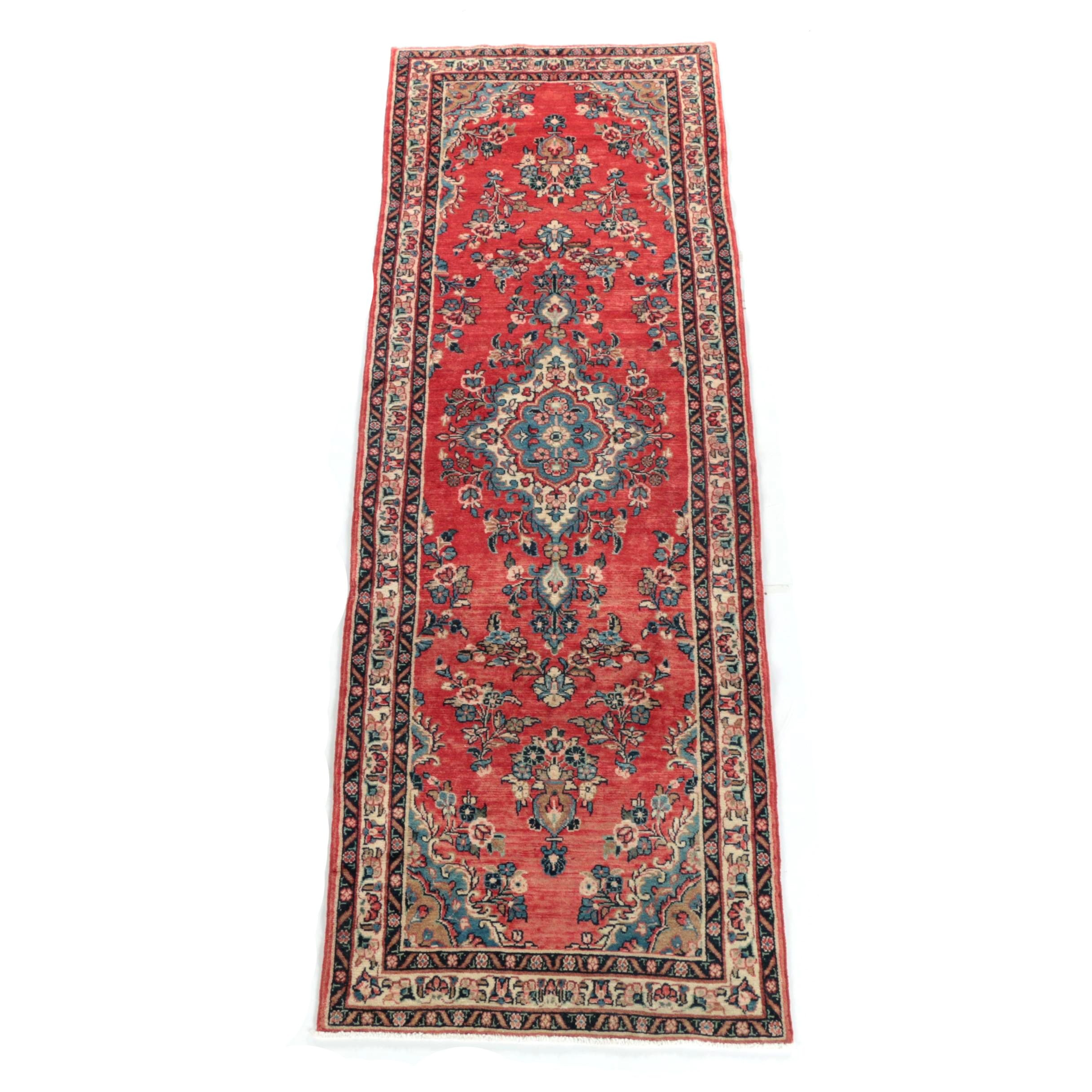 Hand-Knotted Persian Kerman Wool Carpet Runner