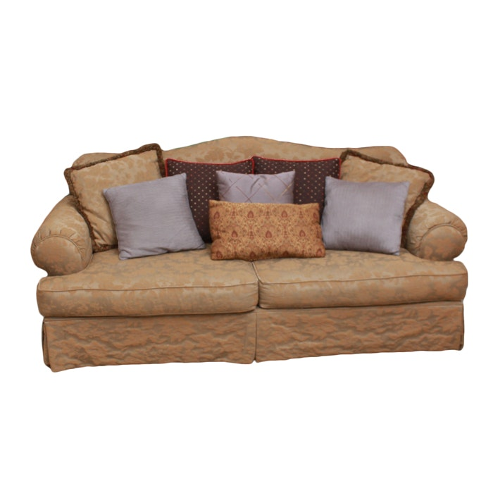 Camelback Gold Upholstered Sofa