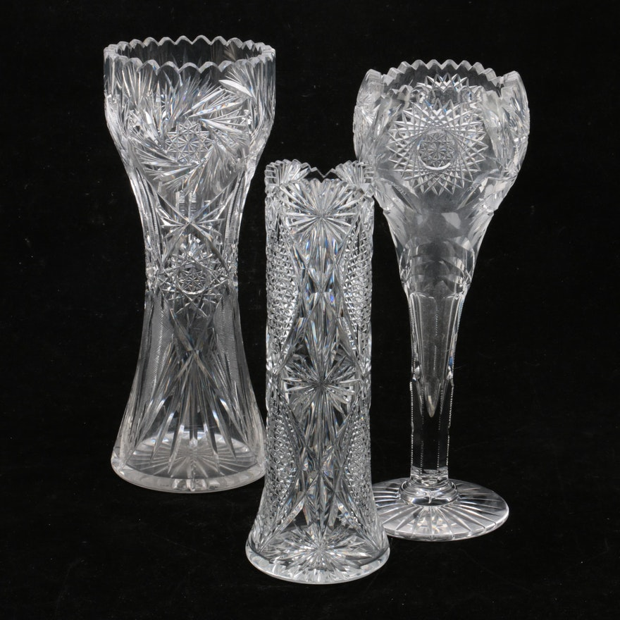 Pressed Glass Crystal Vases Ebth