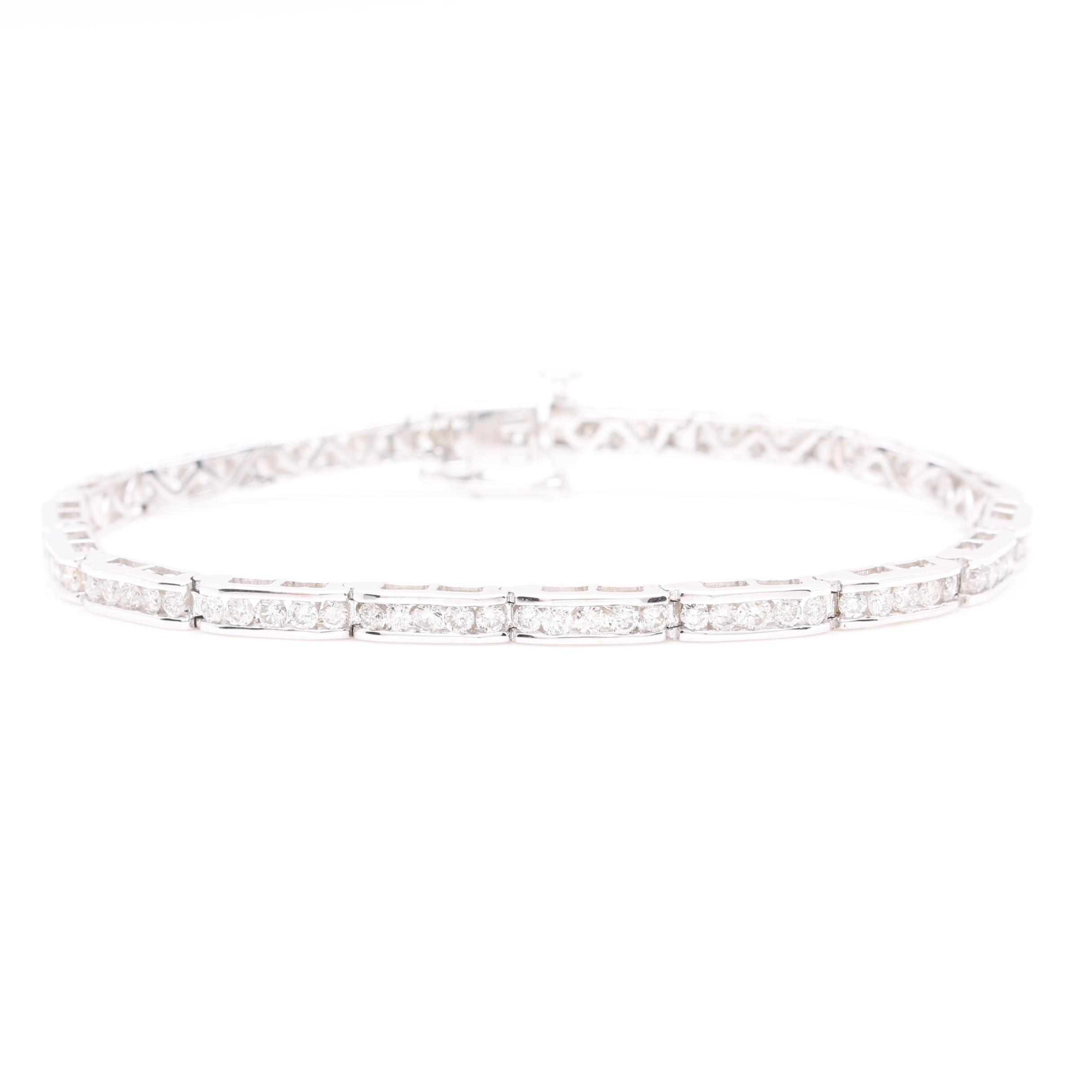 14K White Gold 2.48 CTW Diamond Tennis Bracelet