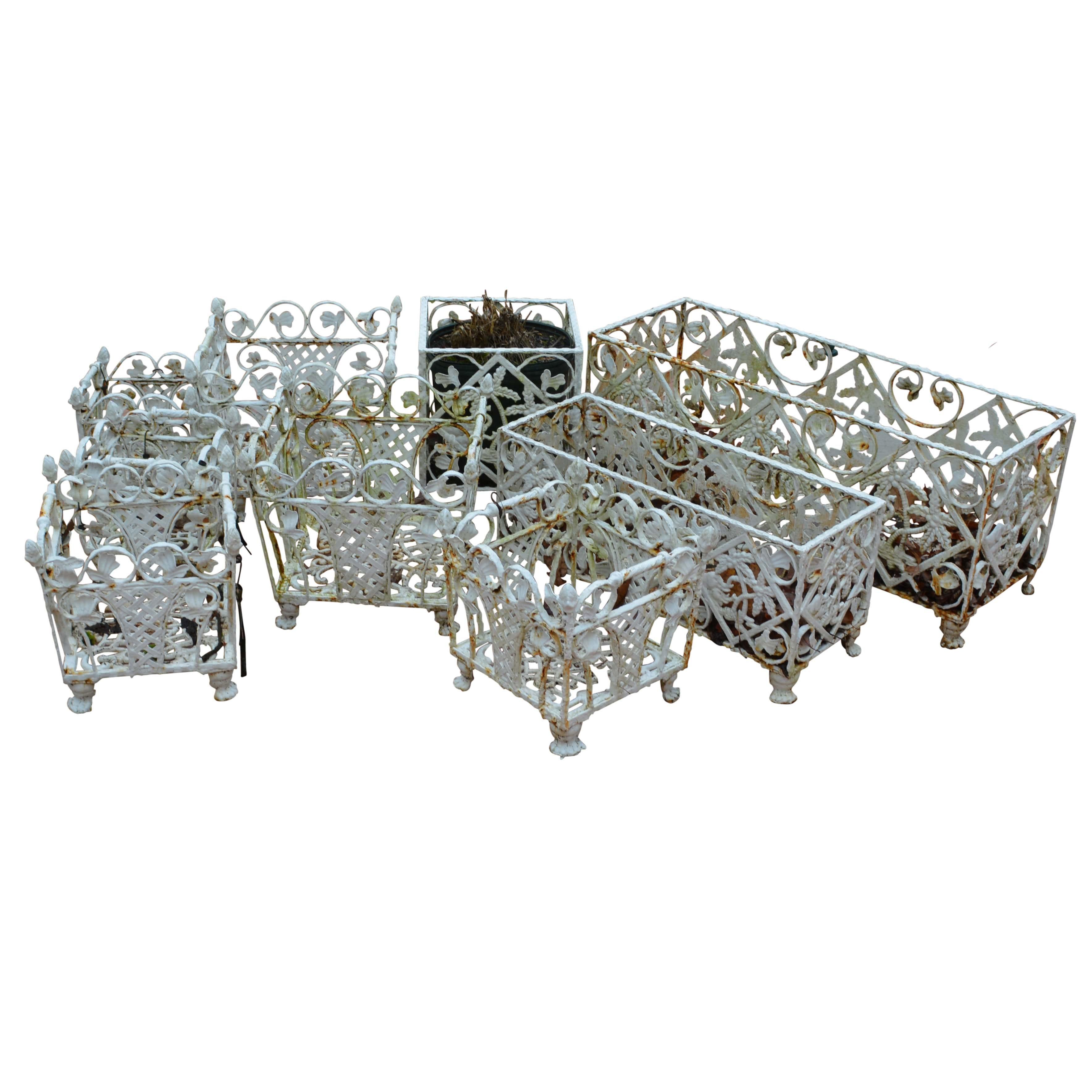 Openwork Style White Cast Iron Planters