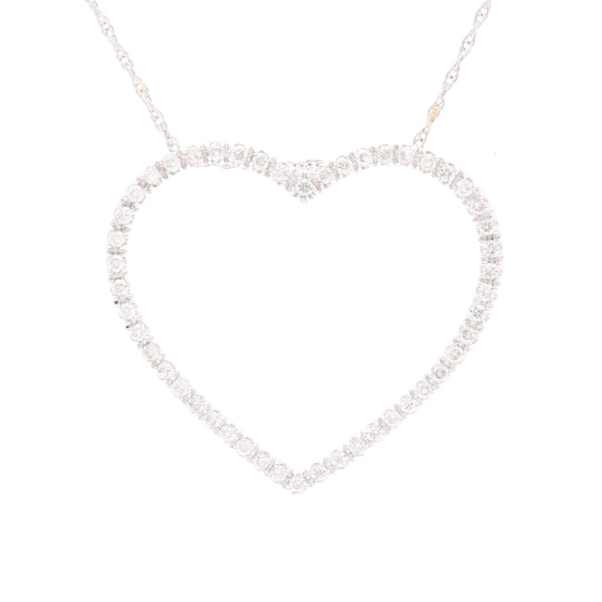 14k white gold diamond open heart pendant necklace ebth 14k white gold diamond open heart pendant necklace mozeypictures Image collections