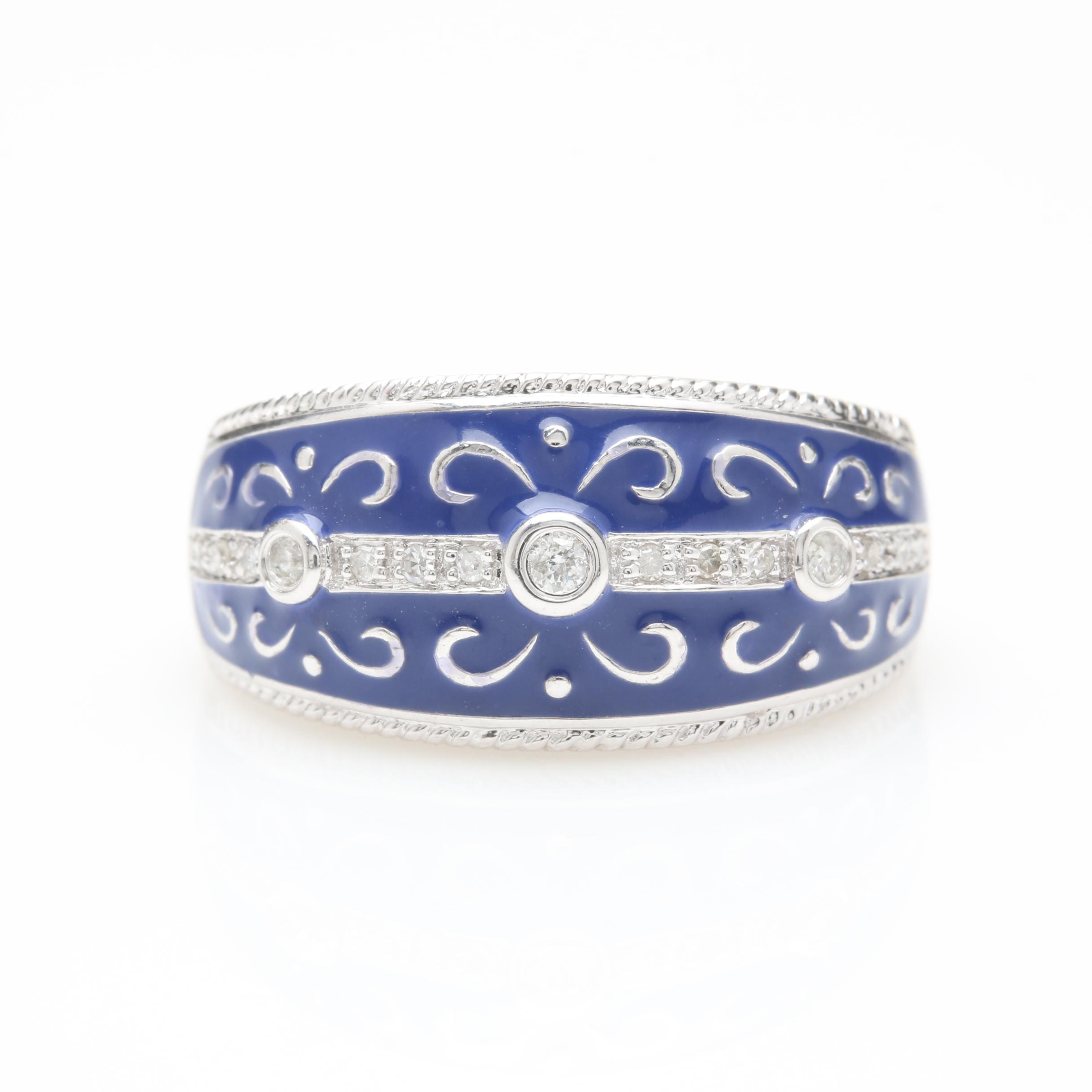 14K White Gold Diamond and Enamel Ring