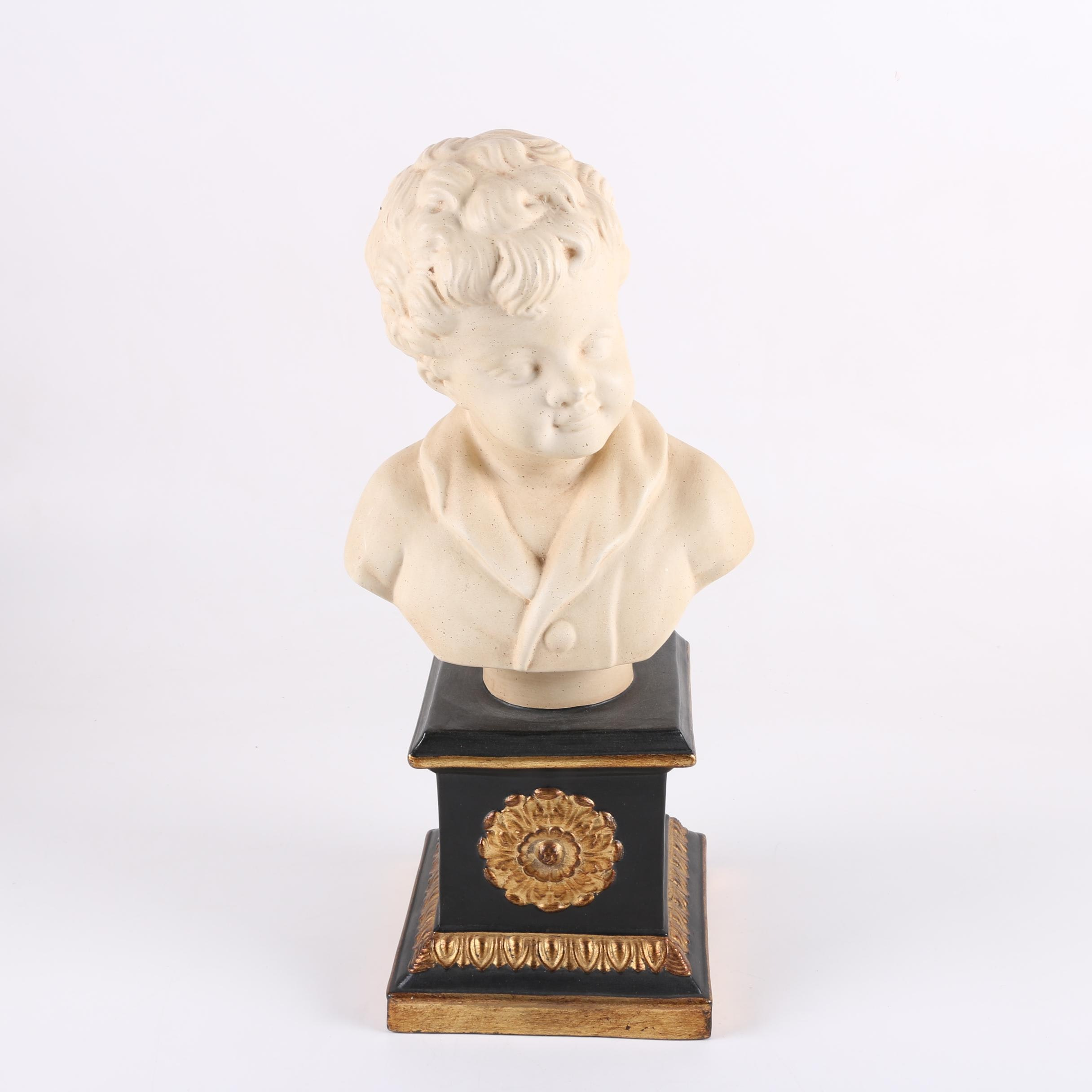 Metal and Plaster Bust of Young Boy with Italian-Made Base