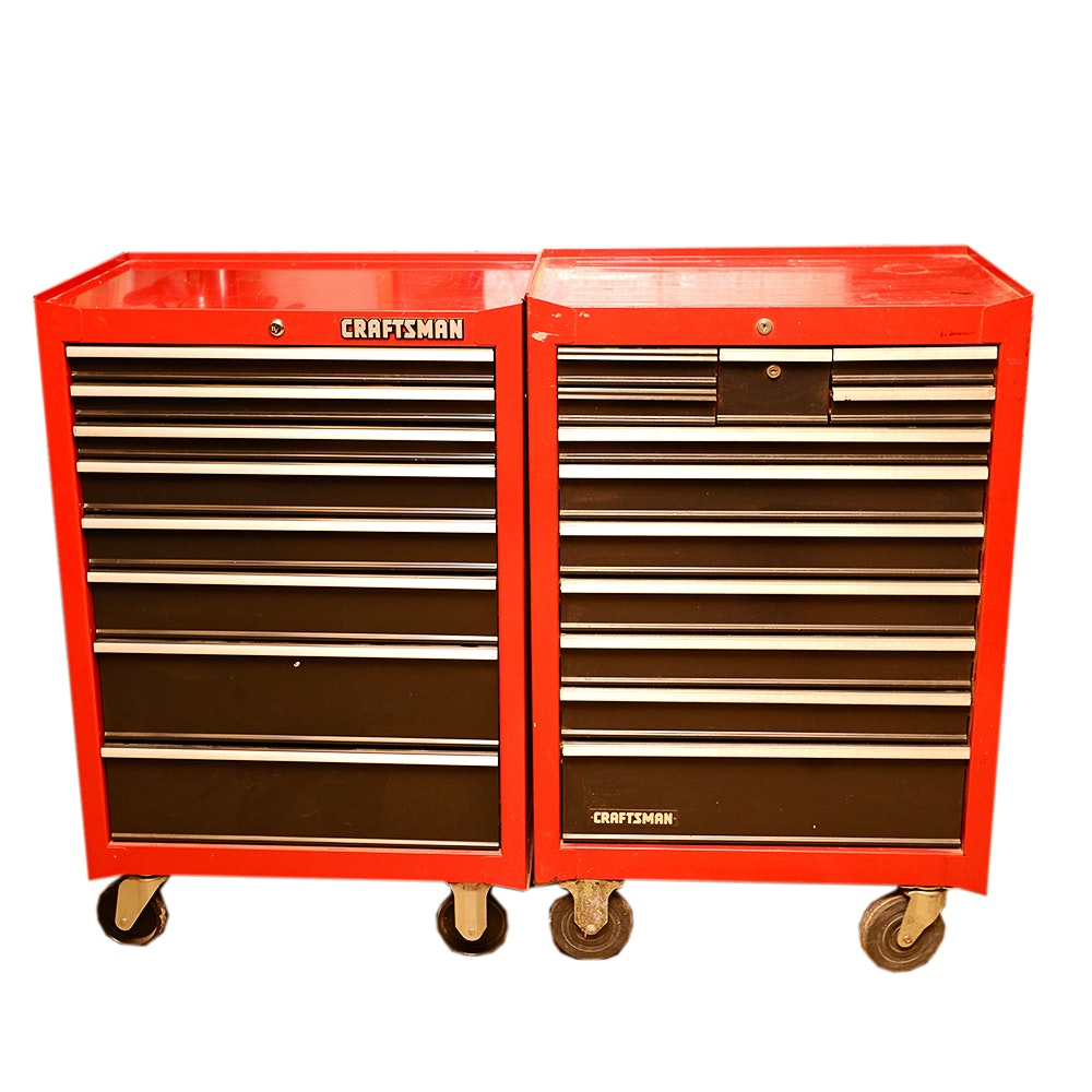 Red Craftsman Rolling Tool Cabinets