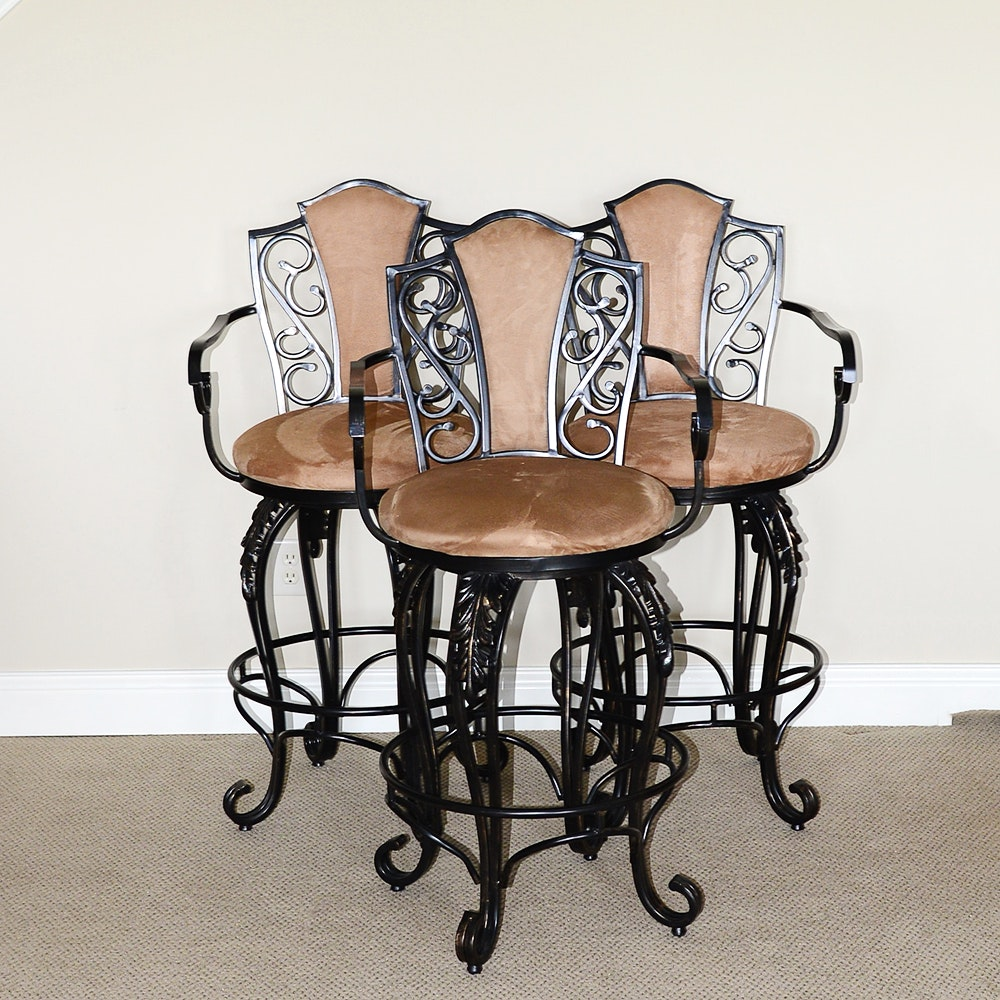Set of Wrought Metal Counter Stools